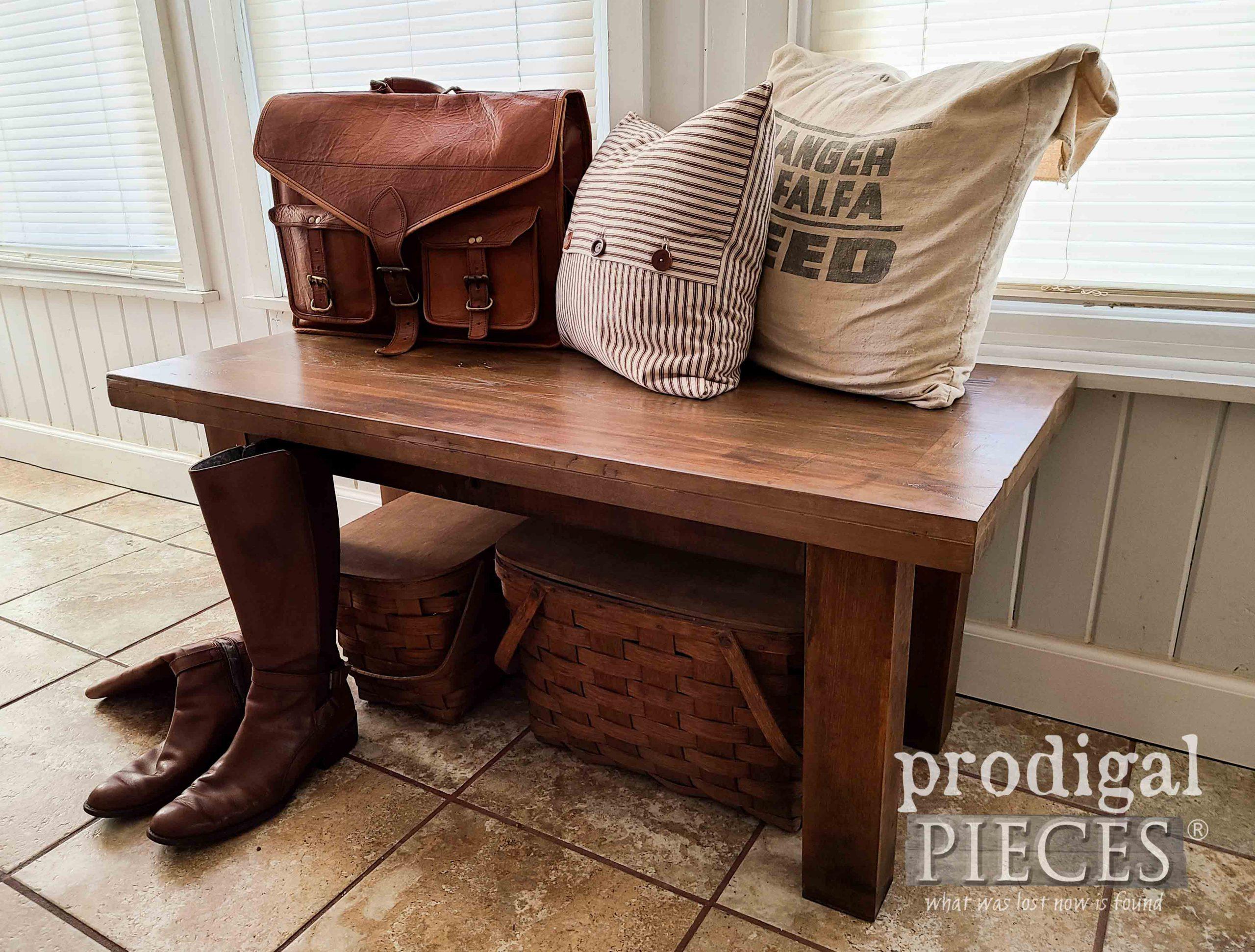 Repurposed Farmhouse Bench made by Larissa of Prodigal Pieces   prodigalpieces.com #prodigalpieces #farmhouse #furniture #home #homedecor