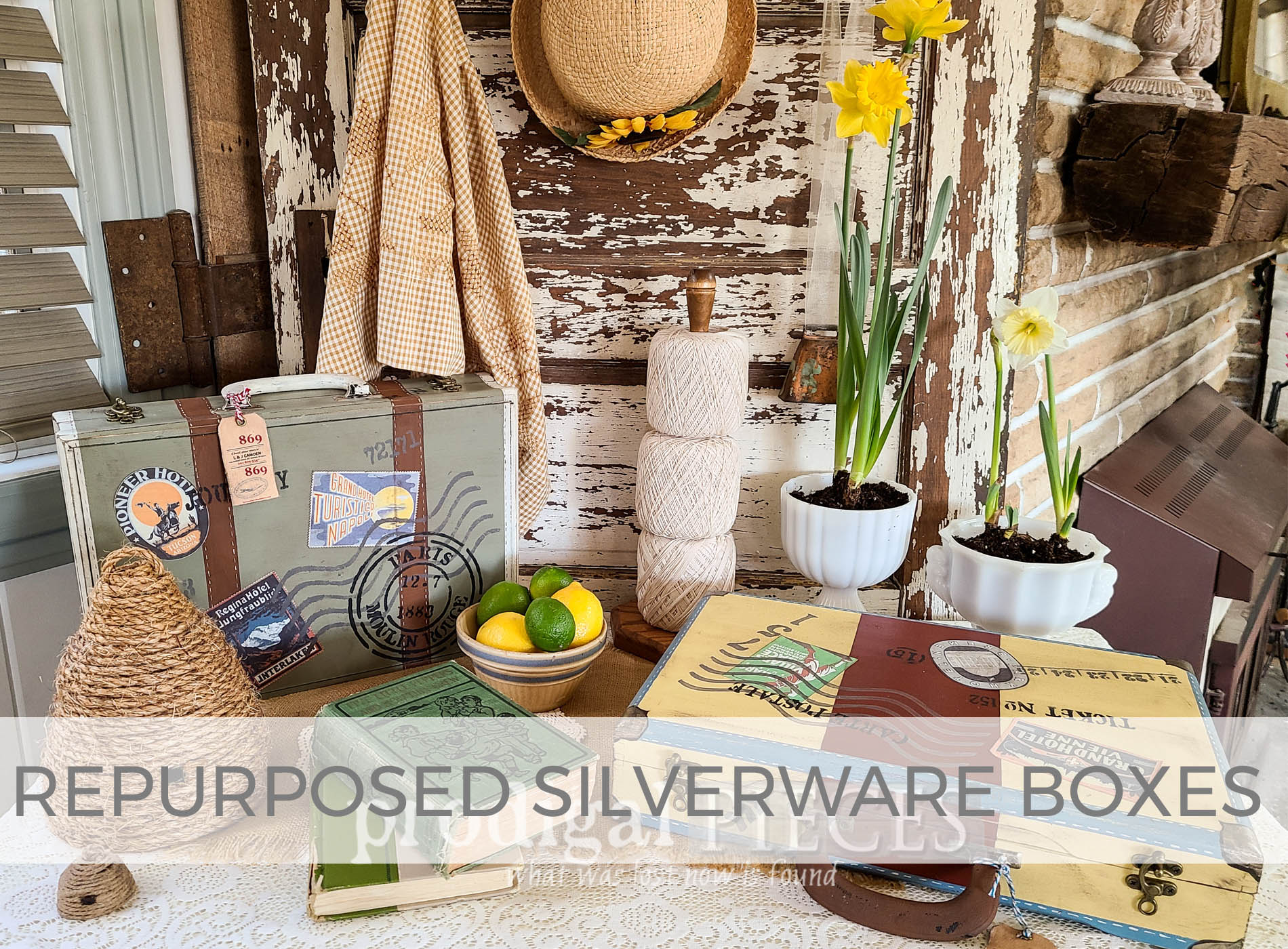 DIY Repurposed Silverware Boxes into Vintage Style Luggage by Larissa of Prodigal Pieces | prodigalpieces.com
