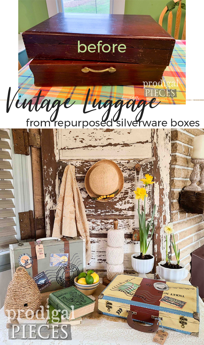 How cute! These repurposed silverware boxes are made into vintage style luggage with a whole lotta DIY fun by Larissa of Prodigal Pieces | prodigalpieces.com #prodigalpieces #diy #crafts #vintage #home #spring #homedecor