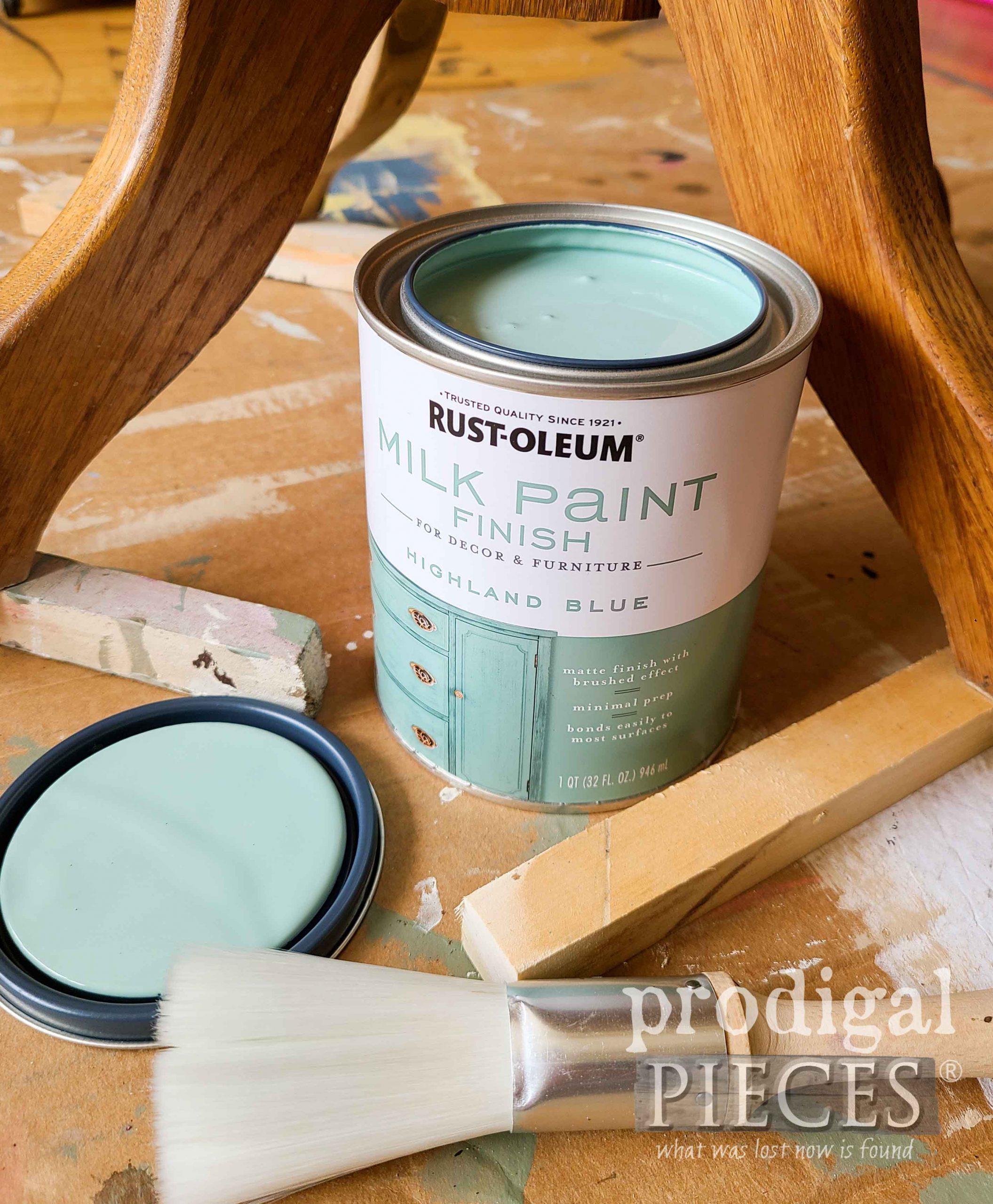 Rustoleum Milk Paint in Blue for Oak Pedestal Table by Larissa of Prodigal Pieces | prodigalpieces.com #prodigalpieces