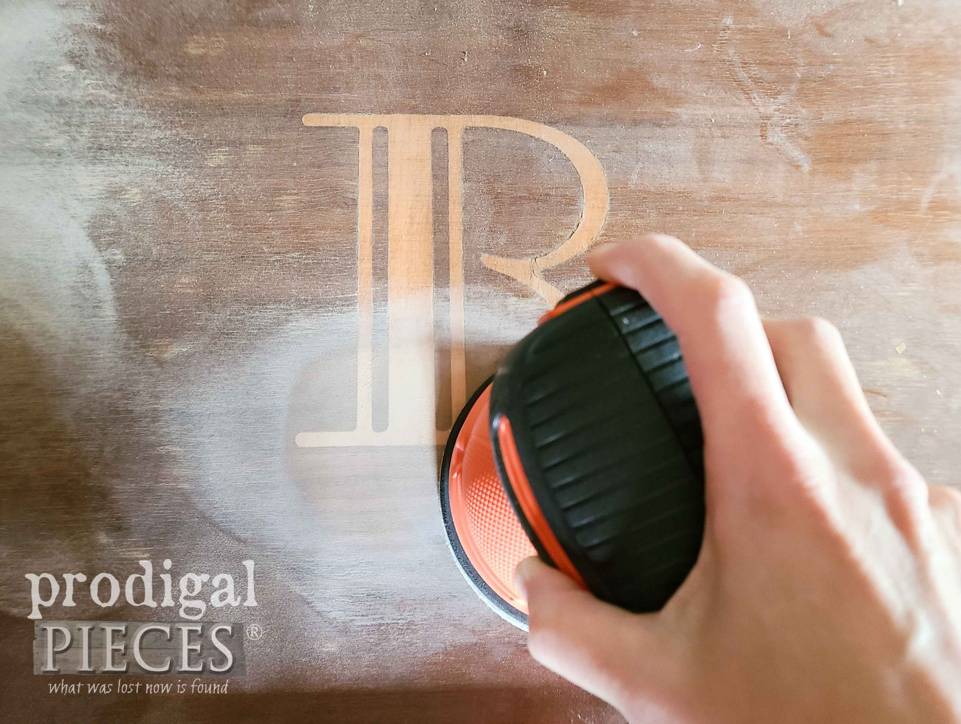 Sanding Vintage Wooden Tray | prodigalpieces.com