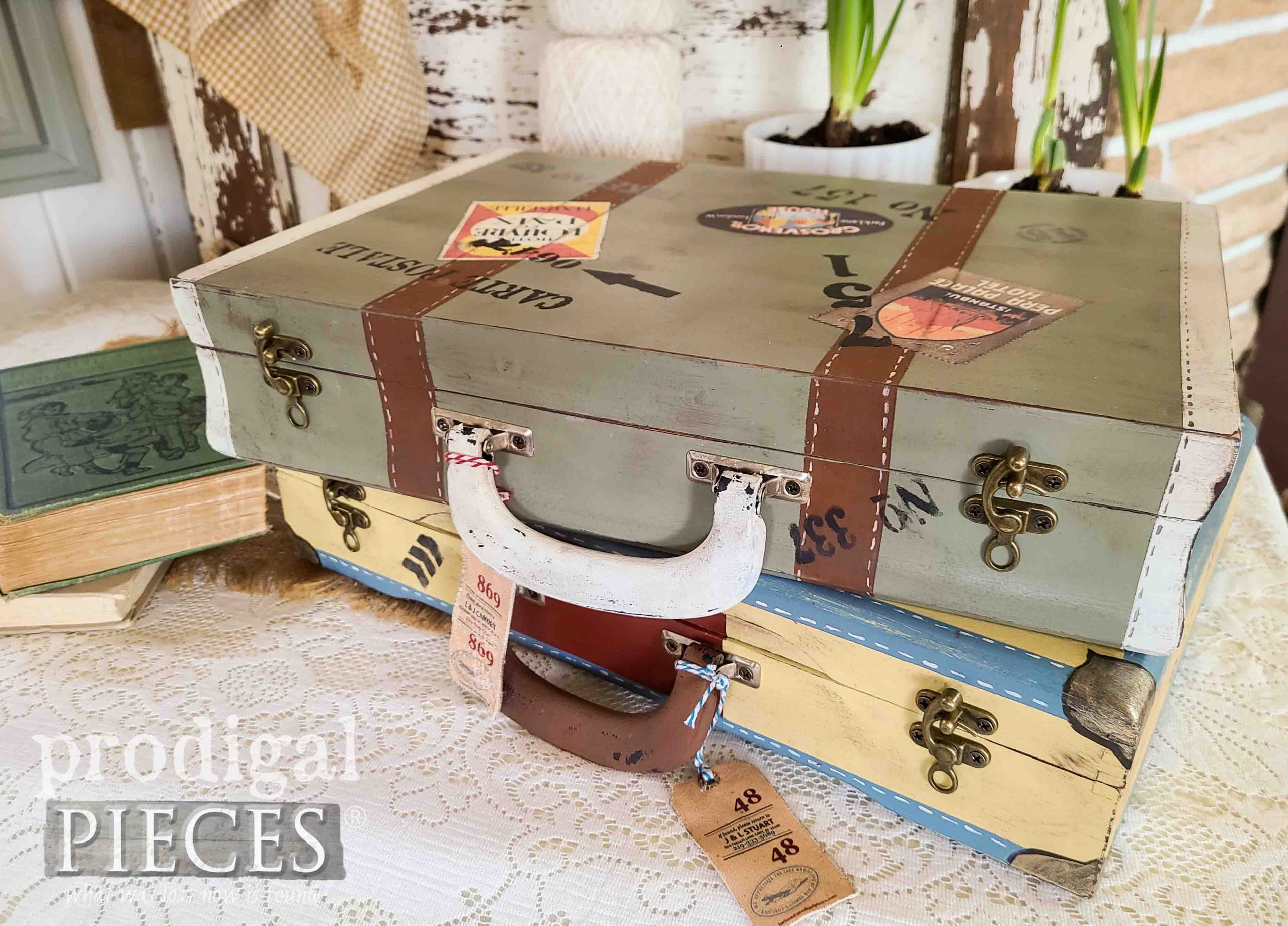 Stacked DIY Vintage Luggage Boxes by Larissa of Prodigal Pieces | prodigalpieces.com #prodigalpieces #diy #vintage #home #homedecor