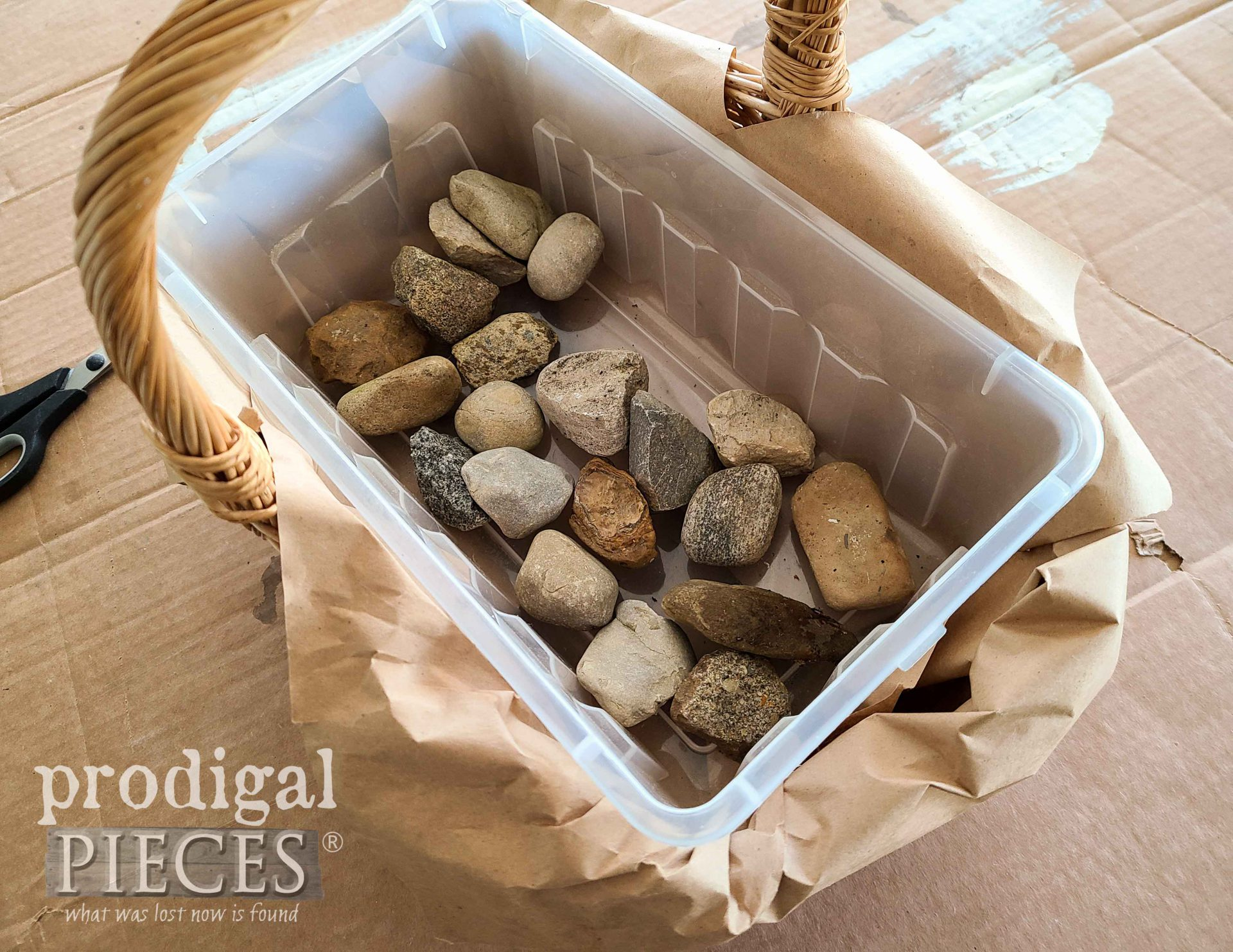Stones Placed in DIY Easter Centerpiece | prodigalpieces.com
