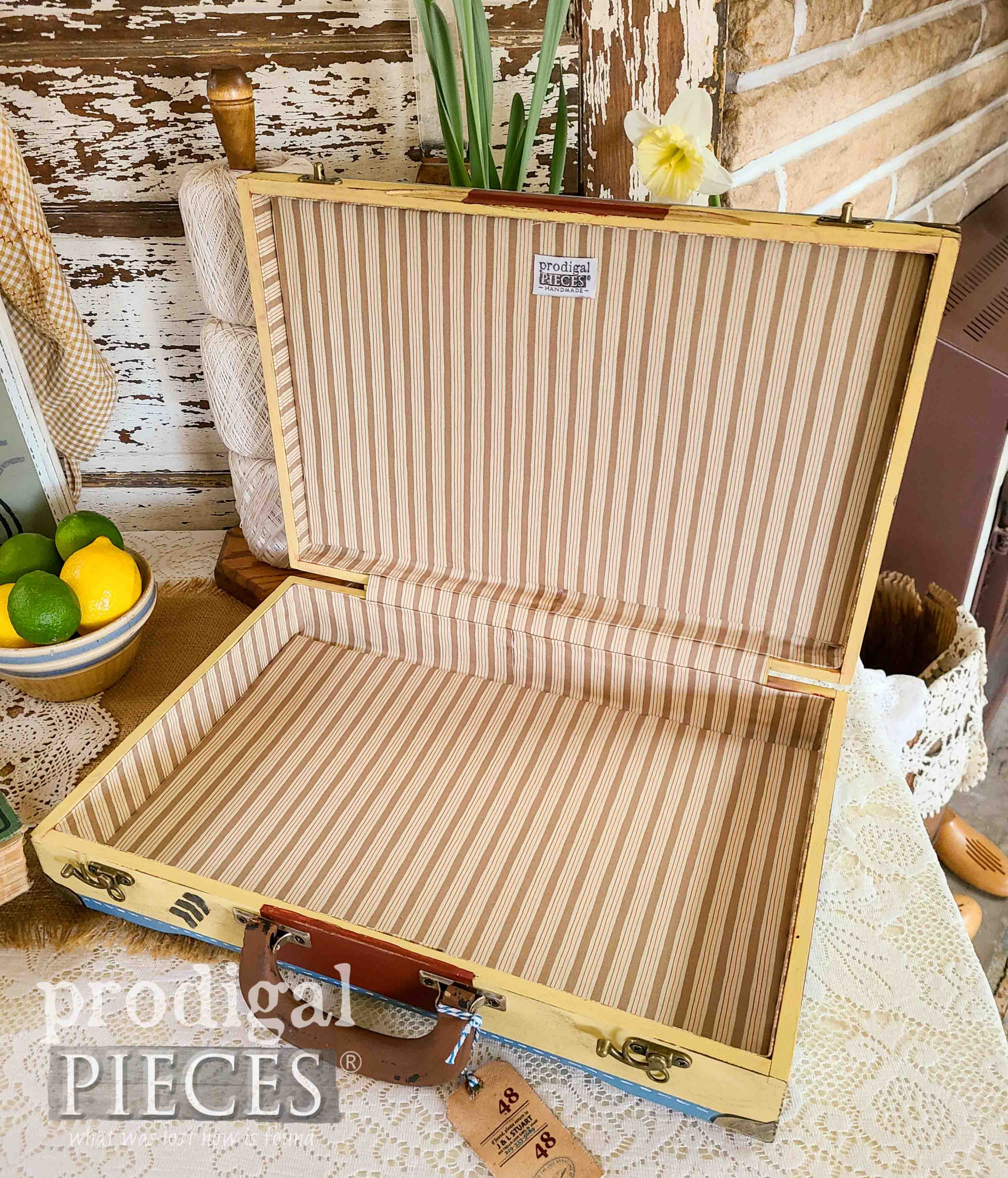 Ticking Stripe Interior of Repurposed Silverware Boxes by Larissa of Prodigal Pieces | prodigalpieces.com #prodigalpieces #vintage #spring #home #homedecor