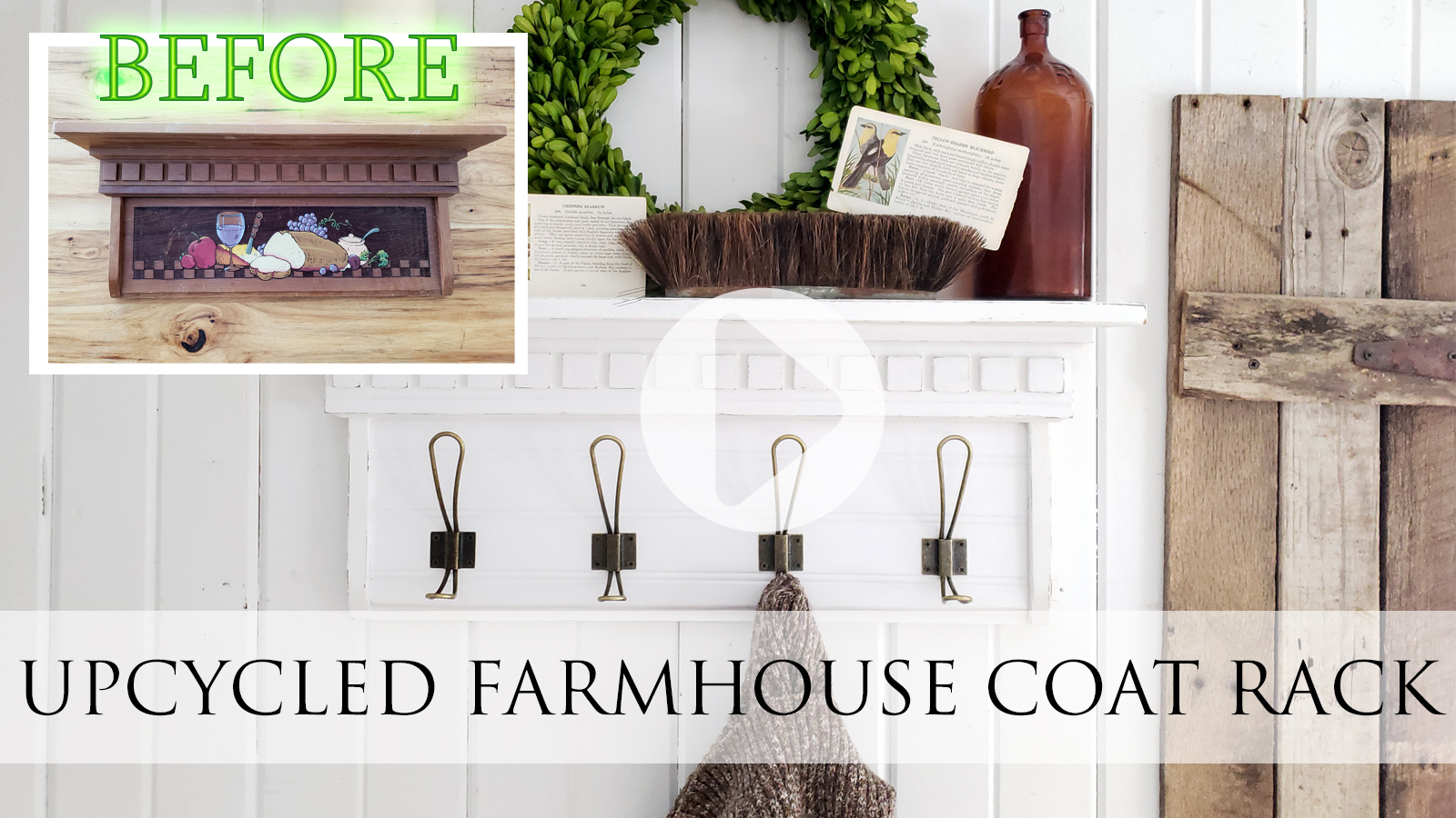 Video Tutorial for DIY Upcycled Farmhouse Coat Rack by Larissa of Prodigal Pieces | prodigalpieces.com #prodigalpieces