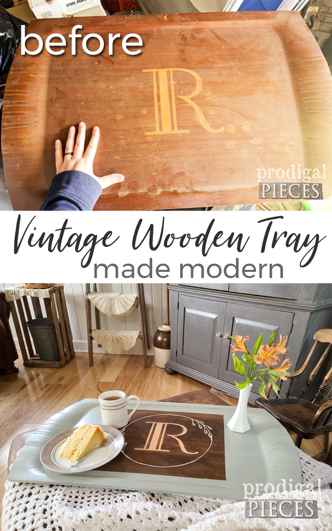 Vintage Wooden Tray Given Modern Farmhouse Style by Larissa of Prodigal Pieces | prodigalpieces.com #prodigalpieces #vintage #farmhouse #home #homedecor