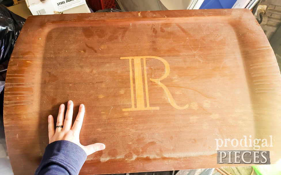 Vintage Wooden Tray Before | prodigalpieces.com