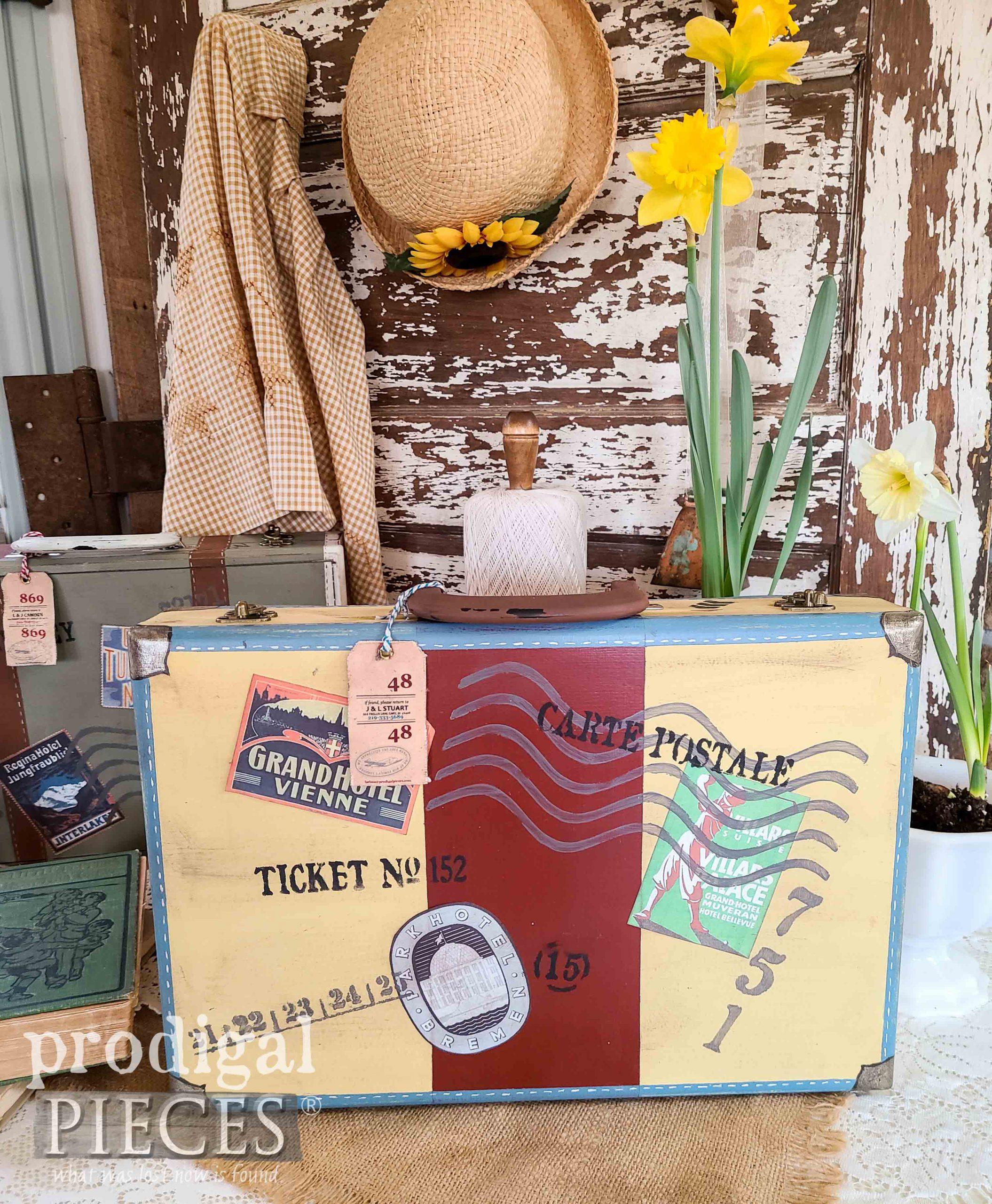 World Travel Luggage Box by Larissa of Prodigal Pieces   prodigalpieces.com #prodigalpieces #diy #home #homedecor #luggage