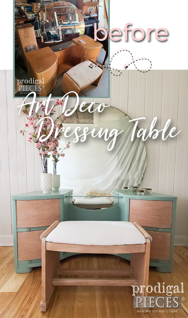 Vintage Art Deco Dressing Table Makeover into Modern Style by Larissa of Prodigal Pieces | prodigalpieces.com #prodigalpieces #furniture #vintage #artdeco #diy #home #homedecor
