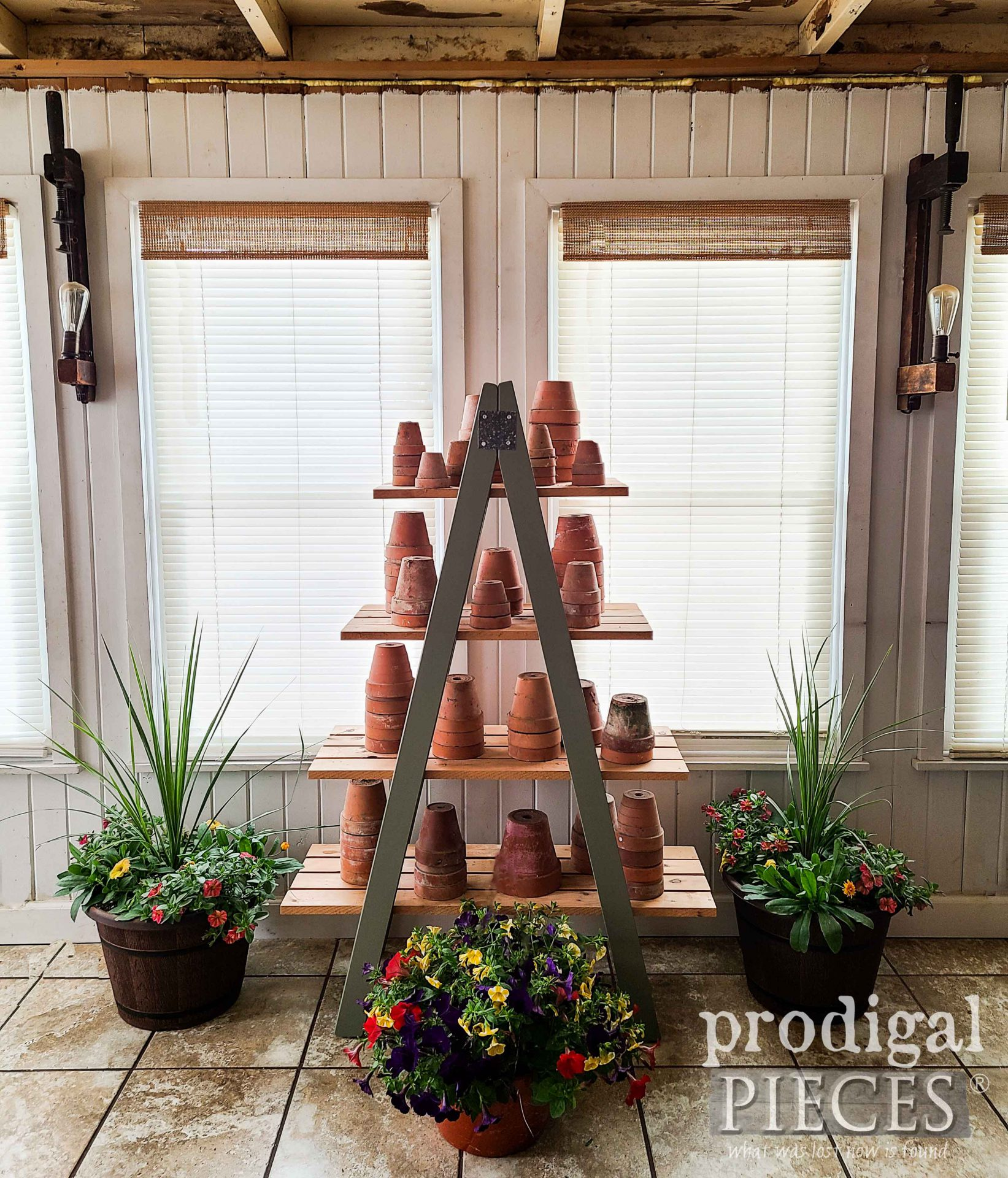 DIY Tiered Ladder Shelf from Upcycled Bunk Bed Ladders by Prodigal Pieces | prodigalpieces.com #prodigalpieces #diy #farmhouse #upcycled #home #homedecor #garden #spring