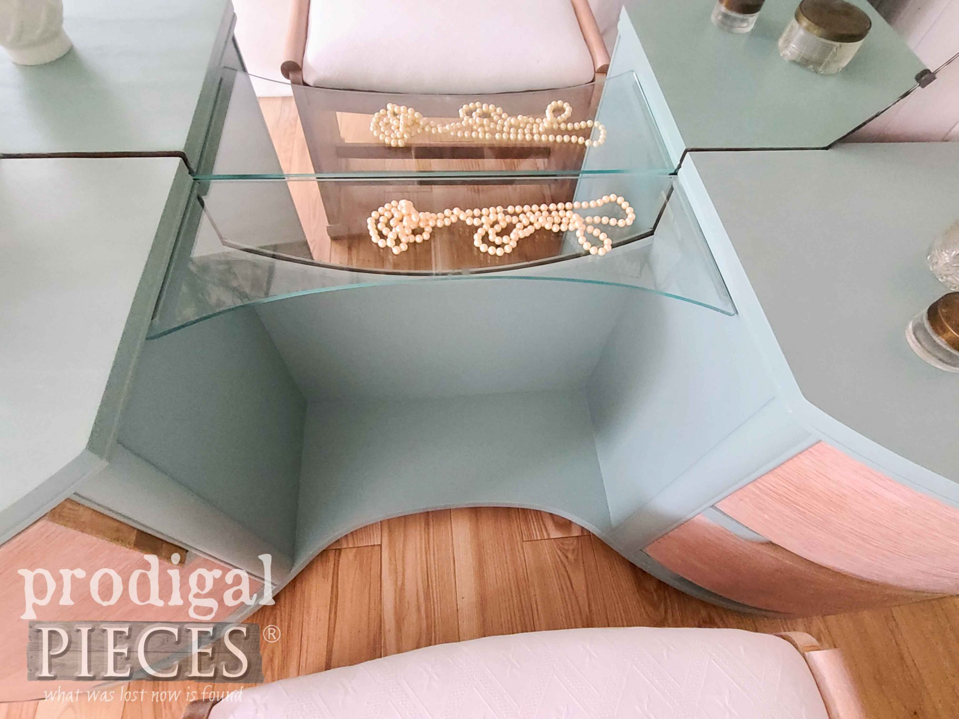 Art Deco Dressing Table with Curved Glass Shelf by Prodigal Pieces | prodigalpieces.com #prodigalpieces #vintage #artdeco #diy