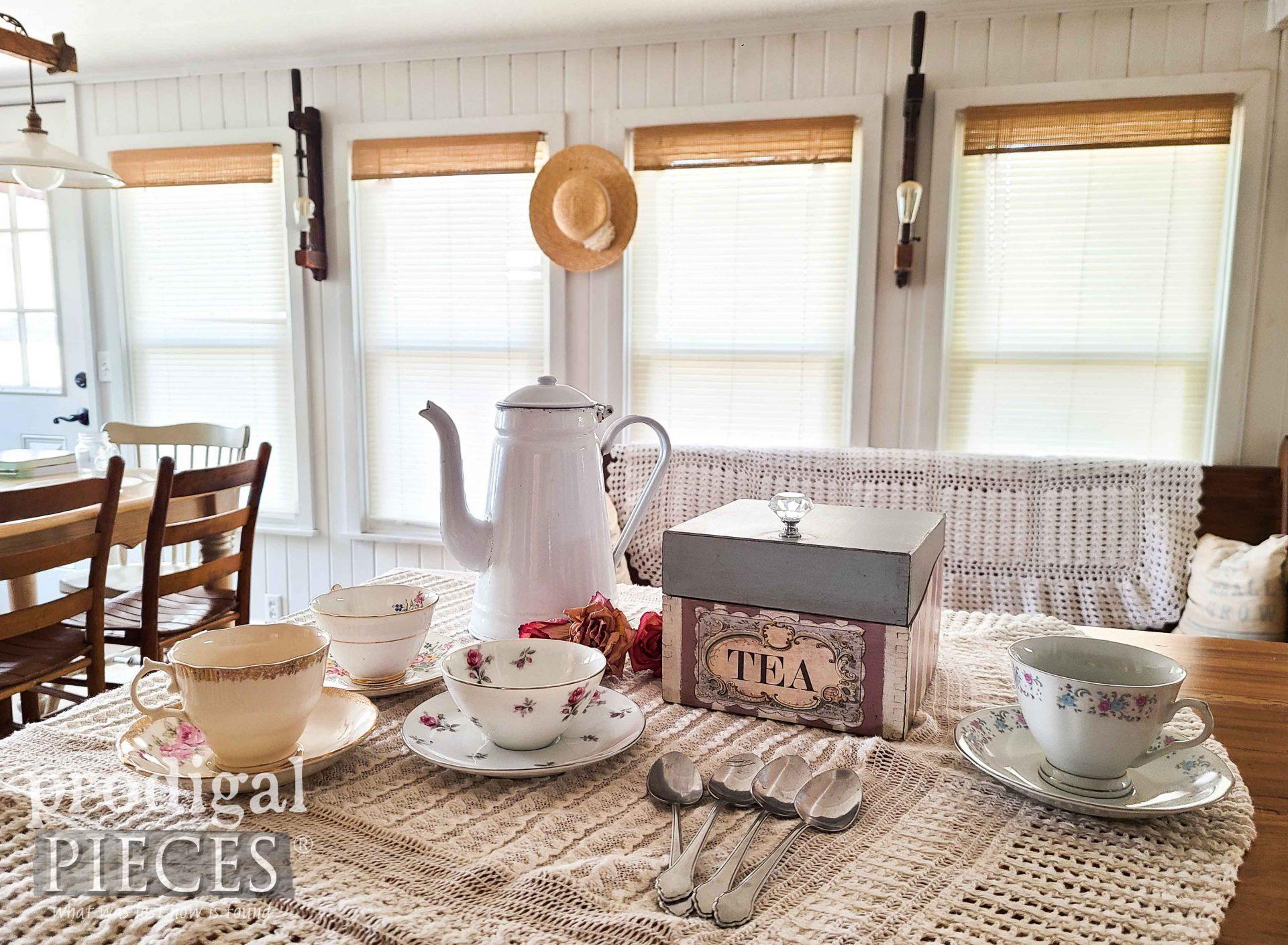 Farmhouse Cottage Style Vintage Tea Setting by Larissa of Prodigal Pieces | prodigalpieces.com #prodigalpieces #cottage #farmhouse #diy #tea #home