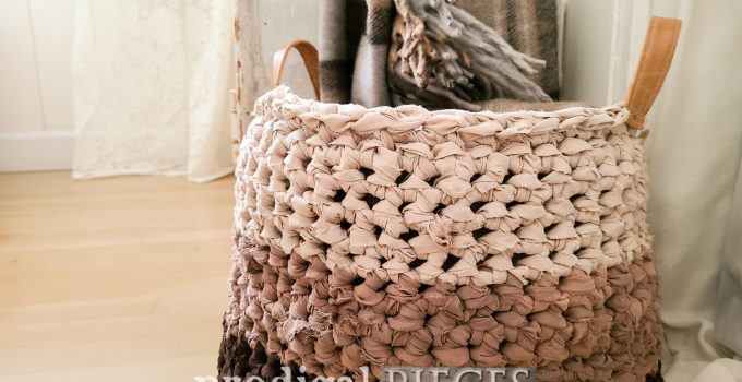 Crochet Basket from Upcycled Bed Sheets