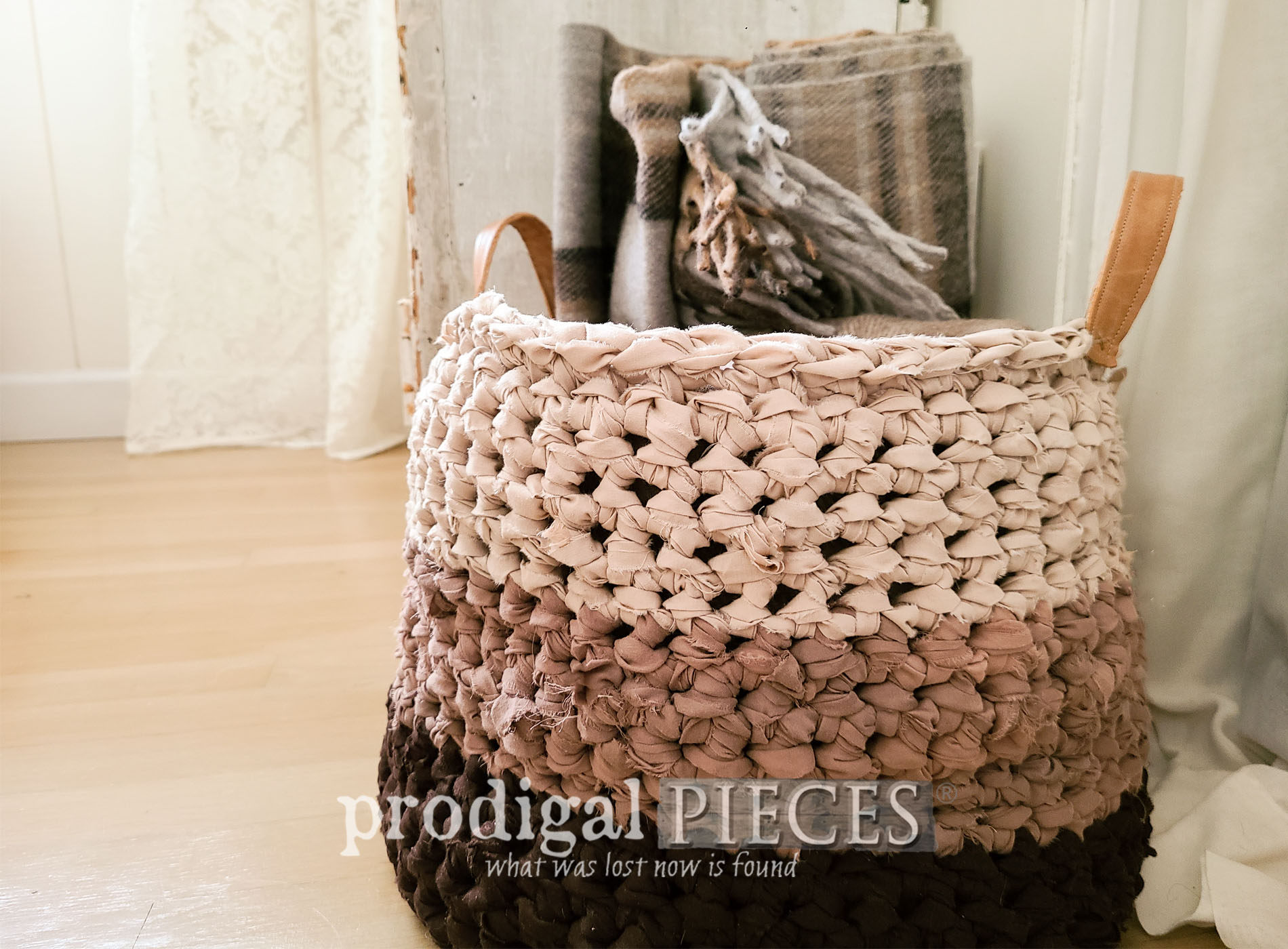 Featured DIY Crochet Basket from Upcycled Bed Sheets by Larissa of Prodigal Pieces | prodigalpieces.com #prodigalpieces #diy #handmade #crochet #basket