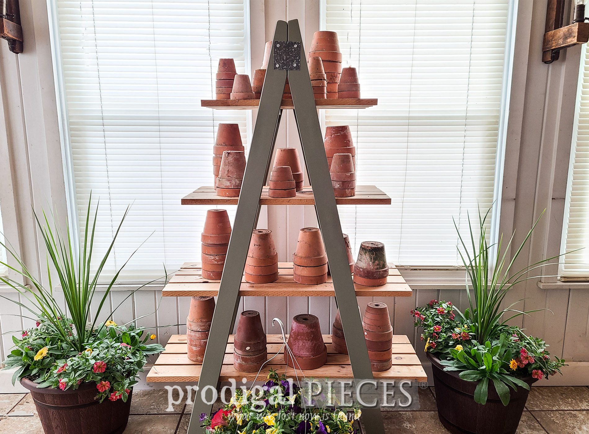 Featured Upcycled Bunk Bed Ladders into Tiered Shelf by Larissa of Prodigal Pieces | prodigalpieces.com #prodigalpieces #diy #upcycled #farmhouse #garden #home #homedecor