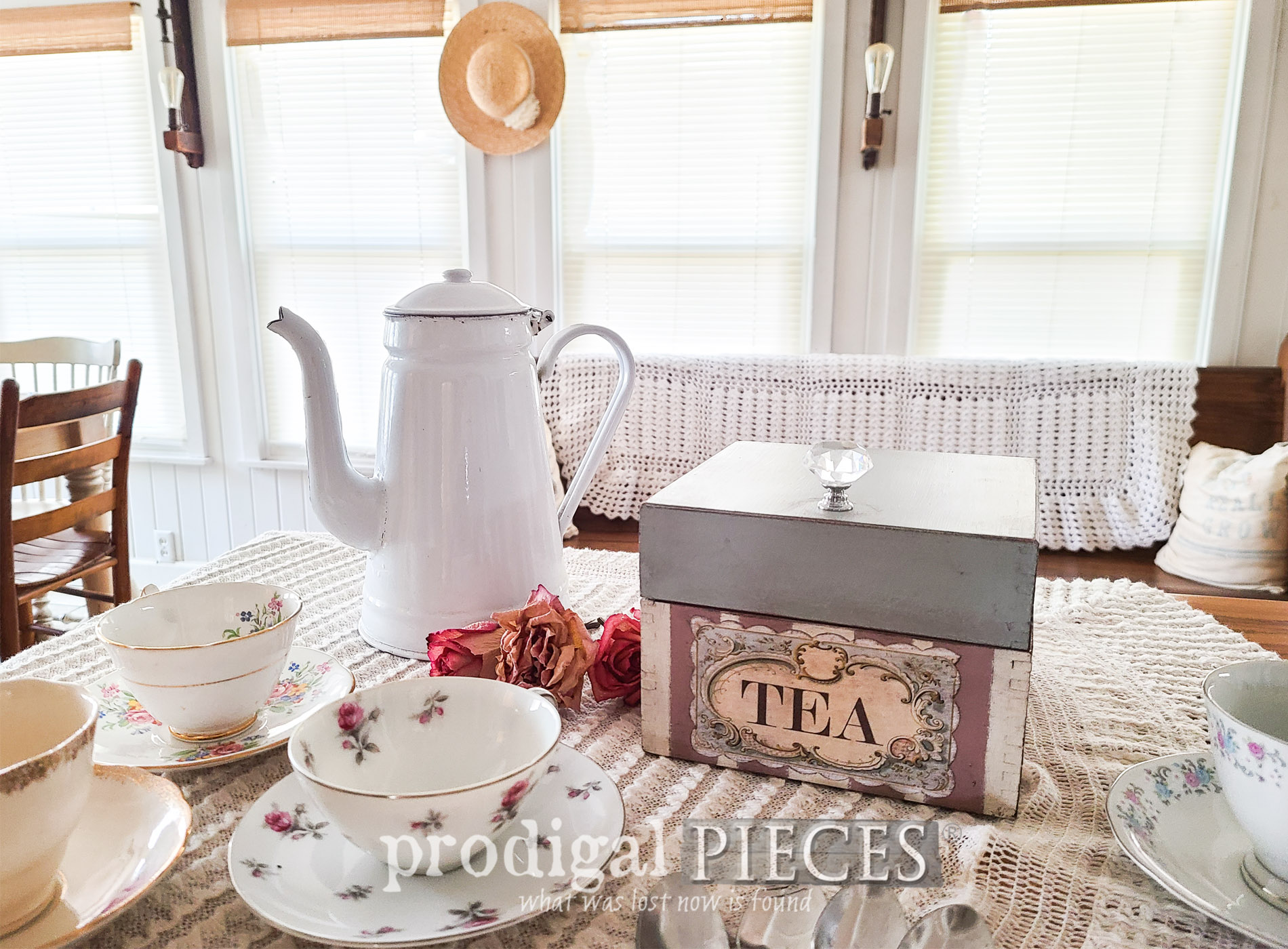 Featured Vintage Tea Box upcycled from recipe box by Larissa of Prodigal Pieces | prodigalpieces.com #prodigalpieces #vintage #cottage #shabbychic #home #homedecor