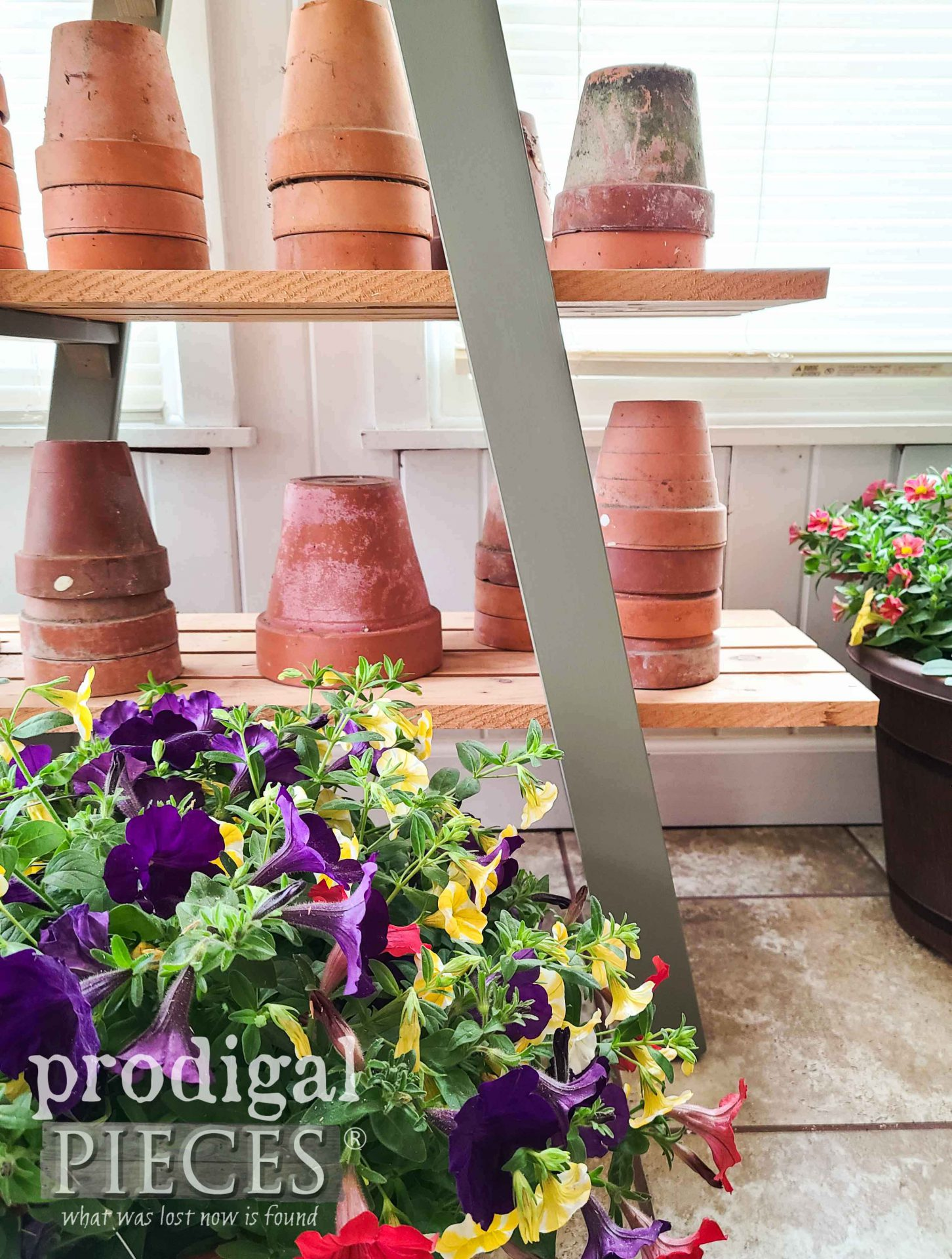 Garden Style Decor from Upcycled Bunk Bed Ladders by Larissa of Prodigal Pieces | prodigalpieces.com #prodigalpieces #garden #diy #home #homedecor