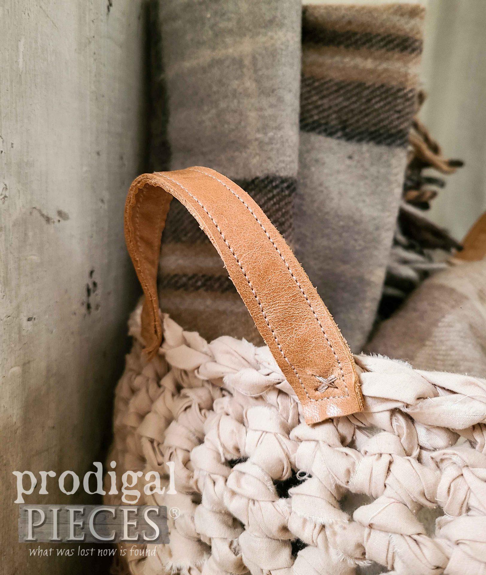 Leather Handles on Crochet Basket by Larissa of Prodigal Pieces | prodigalpieces.com #prodigalpieces #basket #diy #farmhouse #home