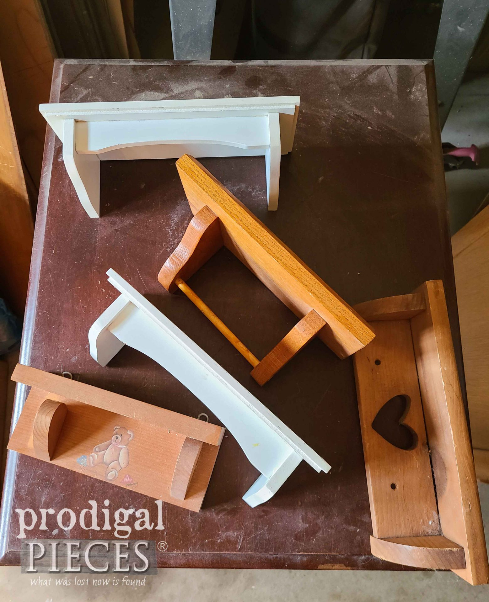 Mini Shelves Before for Upcycled Mirror Frame | prodigalpieces.com