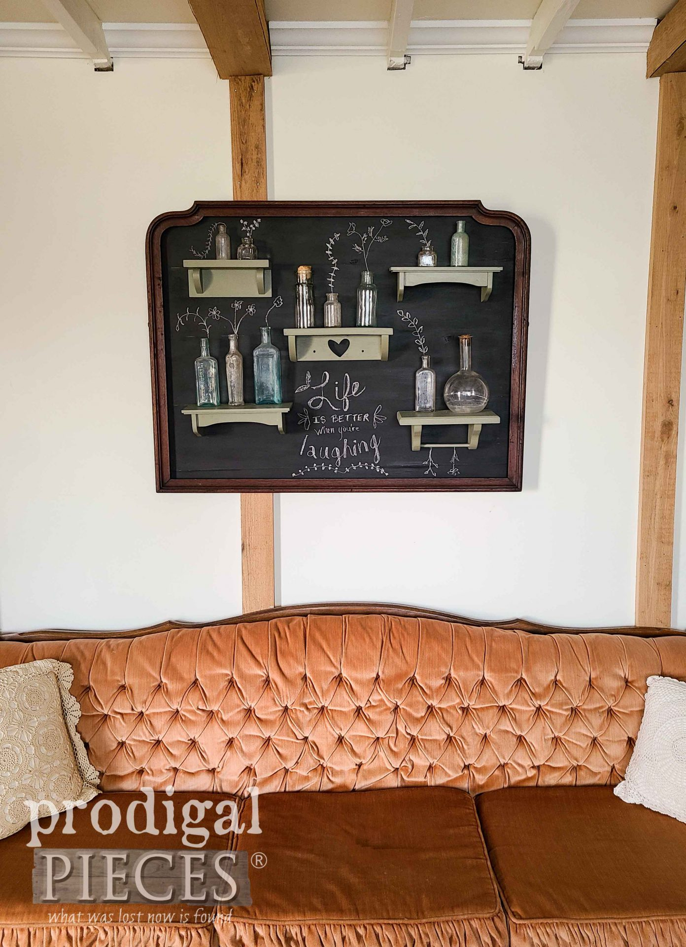 Upcycled Mirror Frame Chalkboard Art with Apothecary Jars by Larissa of Prodigal Pieces | prodigalpieces.com #prodigalpieces #diy #chalkboard #art #home