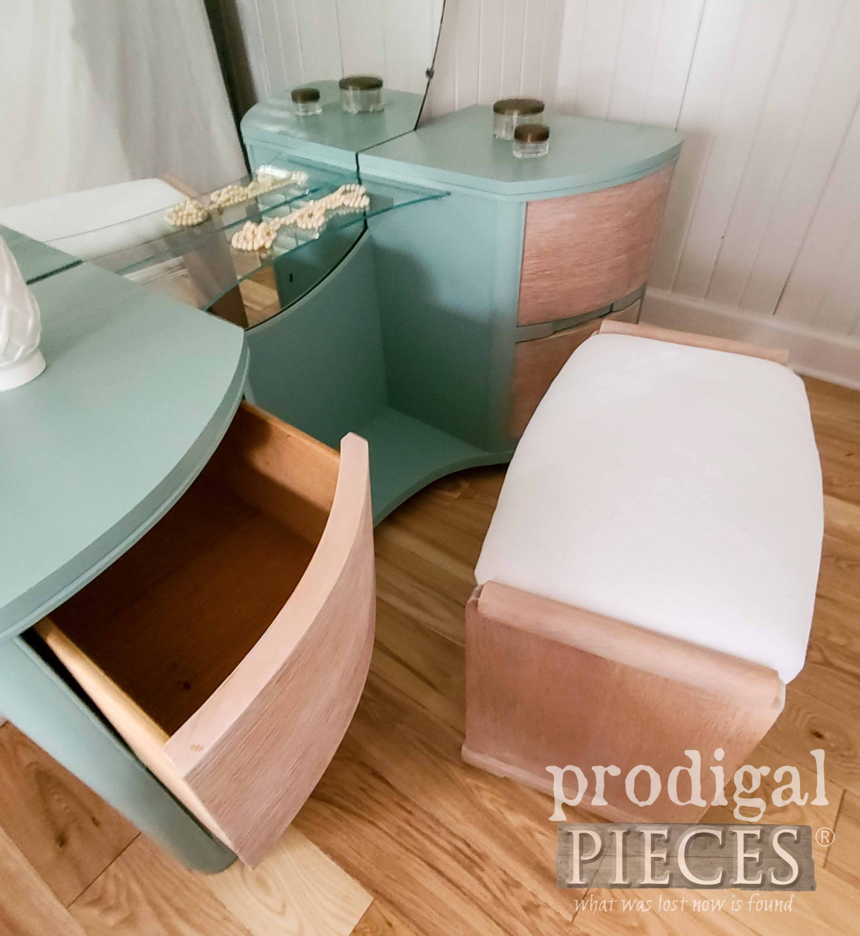 Open Drawer on Art Deco Dressing Table | prodigalpieces.com #prodigalpieces #furniture #home #homedecor