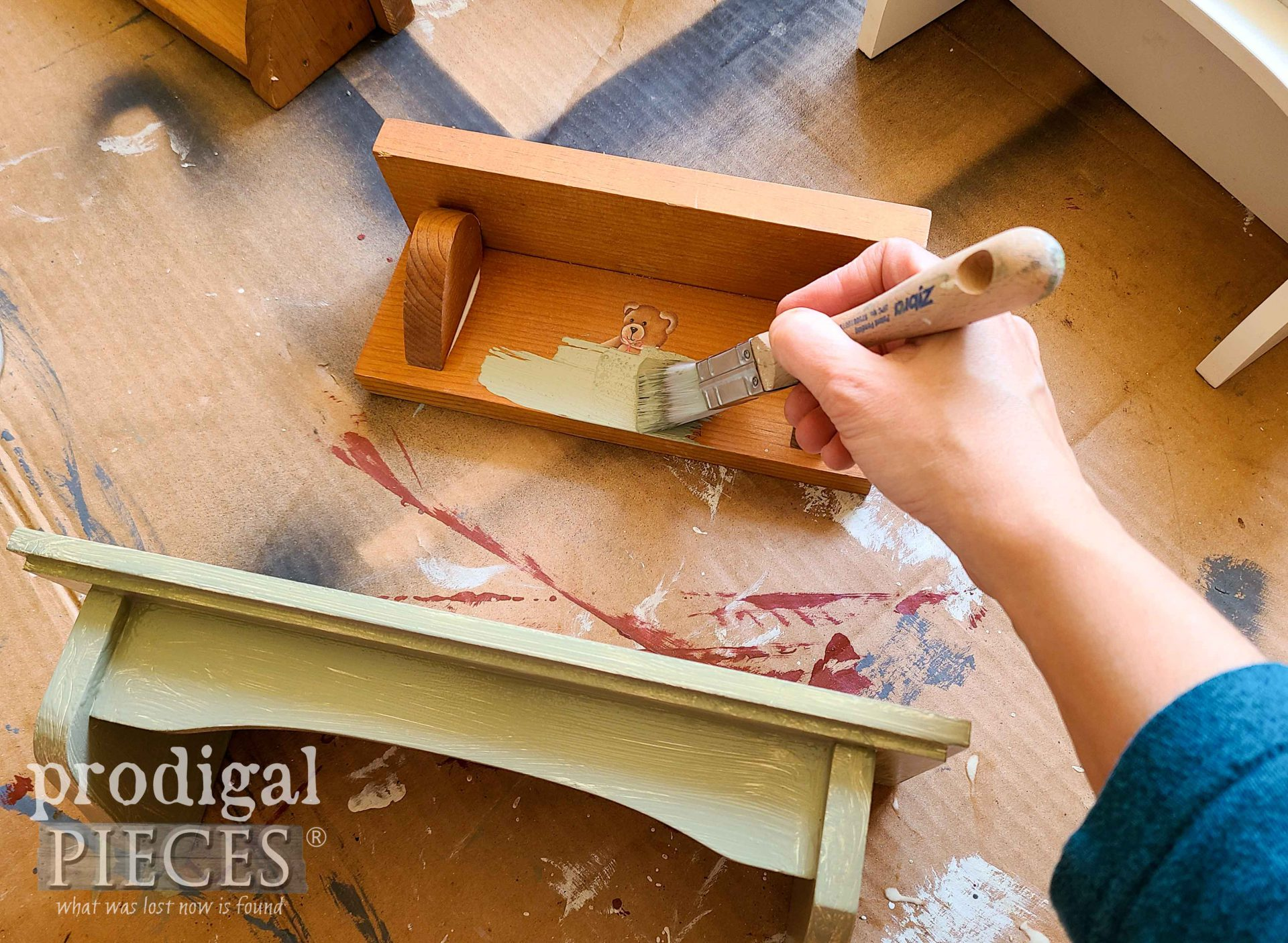 Painting Mini Shelves for Upcycled Mirror Frame by Prodigal Pieces | prodigalpieces.com