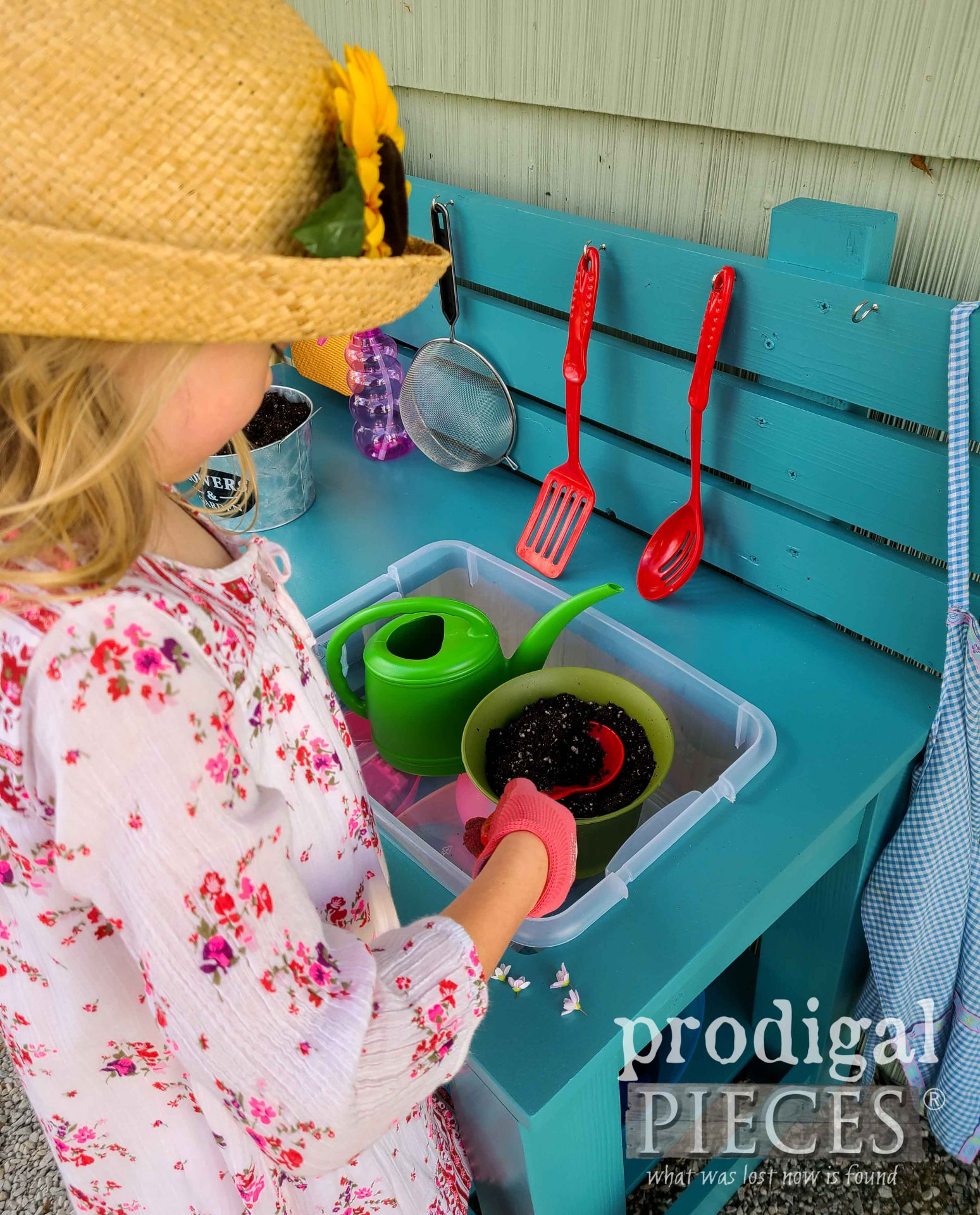 Pretend Play Potting Bench Built from Reclaimed Sewing Desk Top by Prodigal Pieces | prodigalpieces.com #prodigalpieces #toys #kids #fun #upcycled