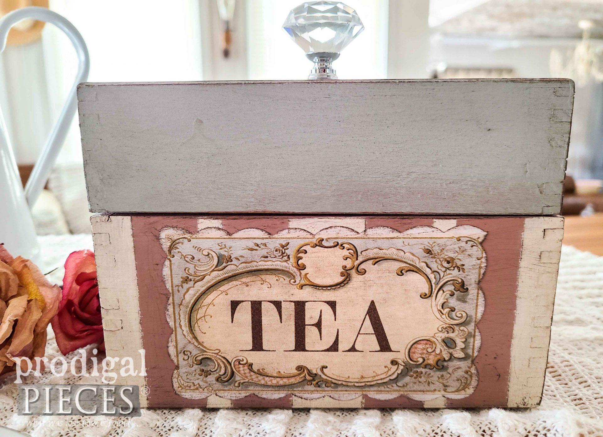 Shabby Chic Vintage Tea Box by Larissa of Prodigal Pieces | prodigalpieces.com #prodigalpieces #shabbychic #tea
