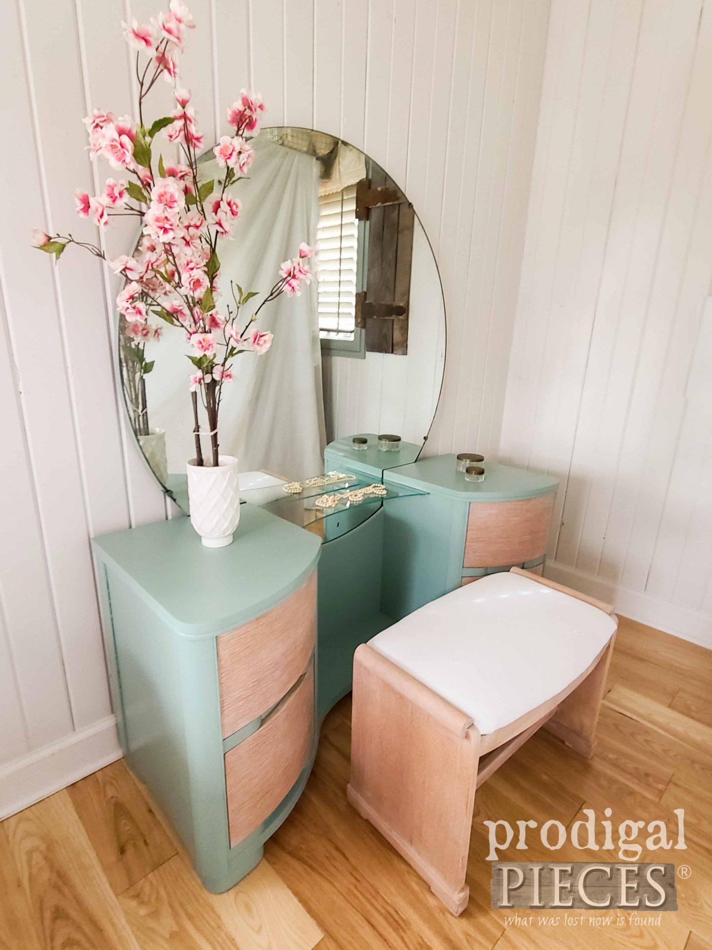 Side View Art Deco Dressing Table Refinished by Larissa of Prodigal Pieces | prodigalpieces.com #prodigalpieces #furniture #vintage #artdeco #boho