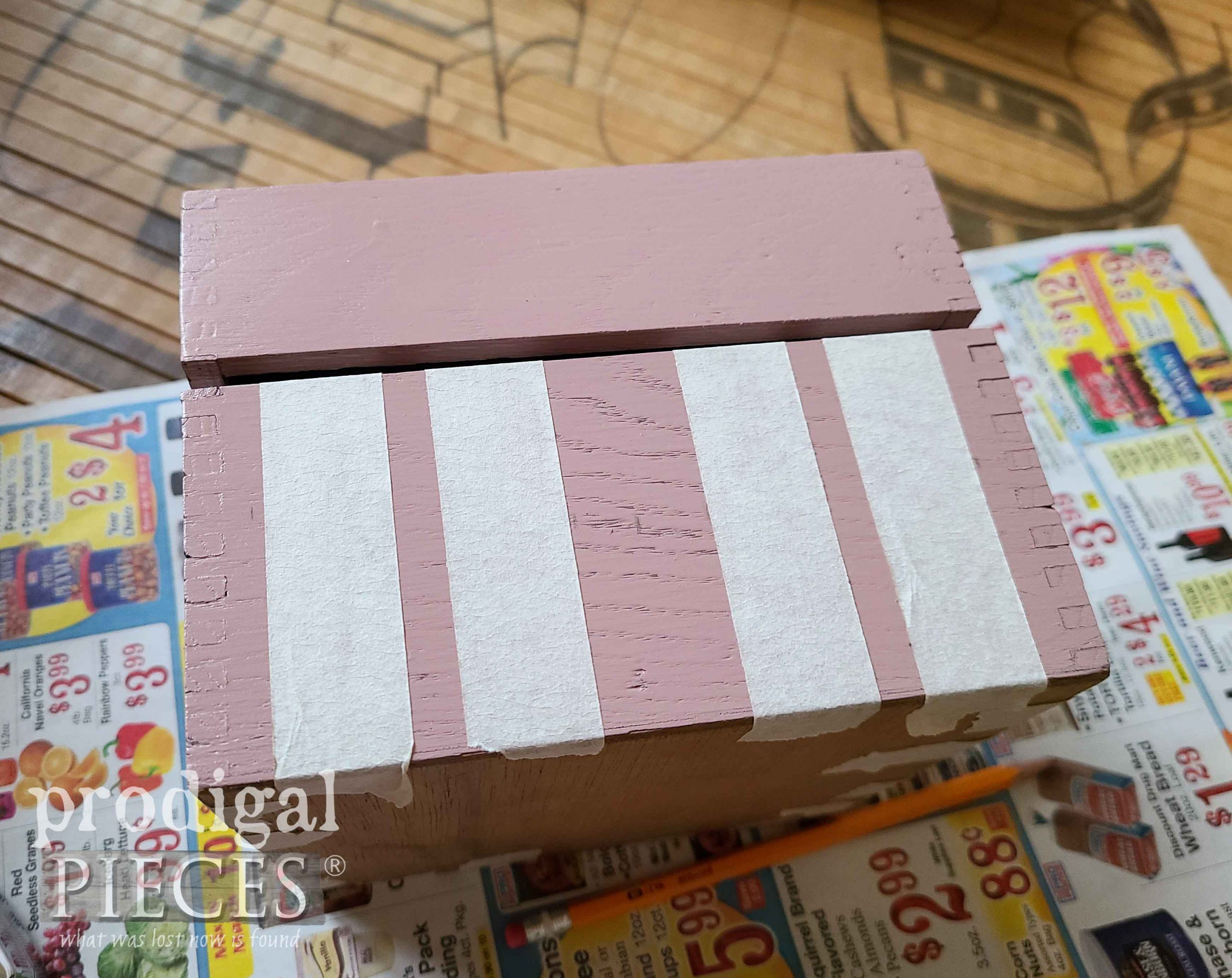 Taped Stripes on Vintage Tea Box | prodigalpieces.com