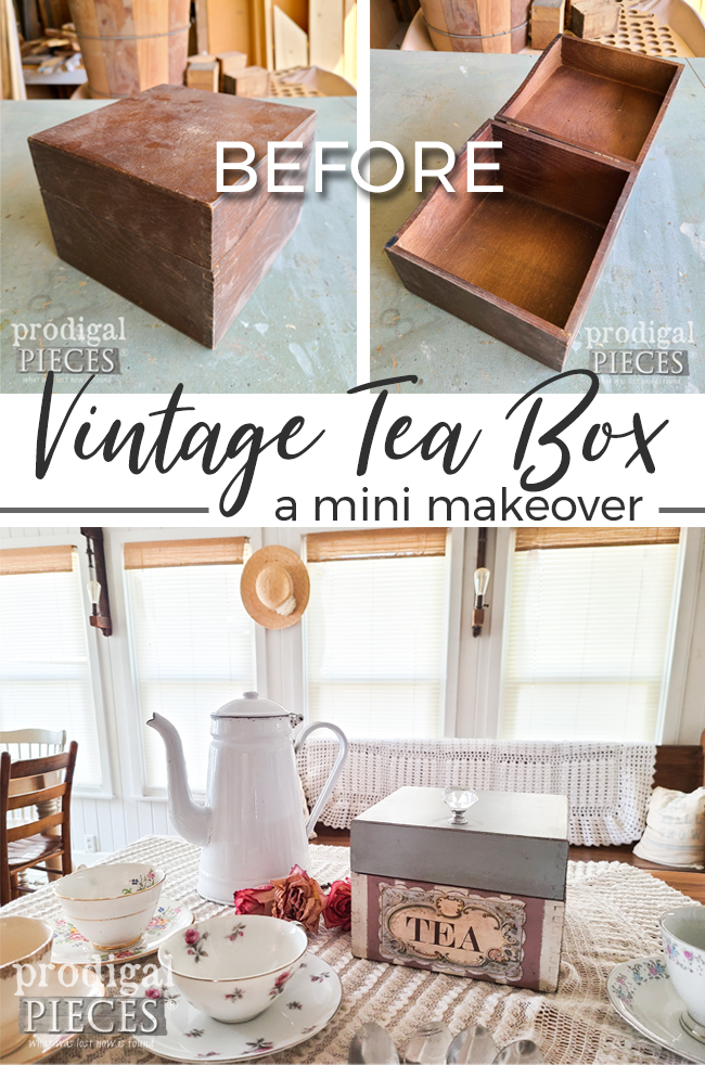 A dated recipe box is transformed into a sweet vintage tea box by Larissa of Prodigal Pieces | prodigalpieces.com #prodigalpieces #vintage #tea #home #homedecor