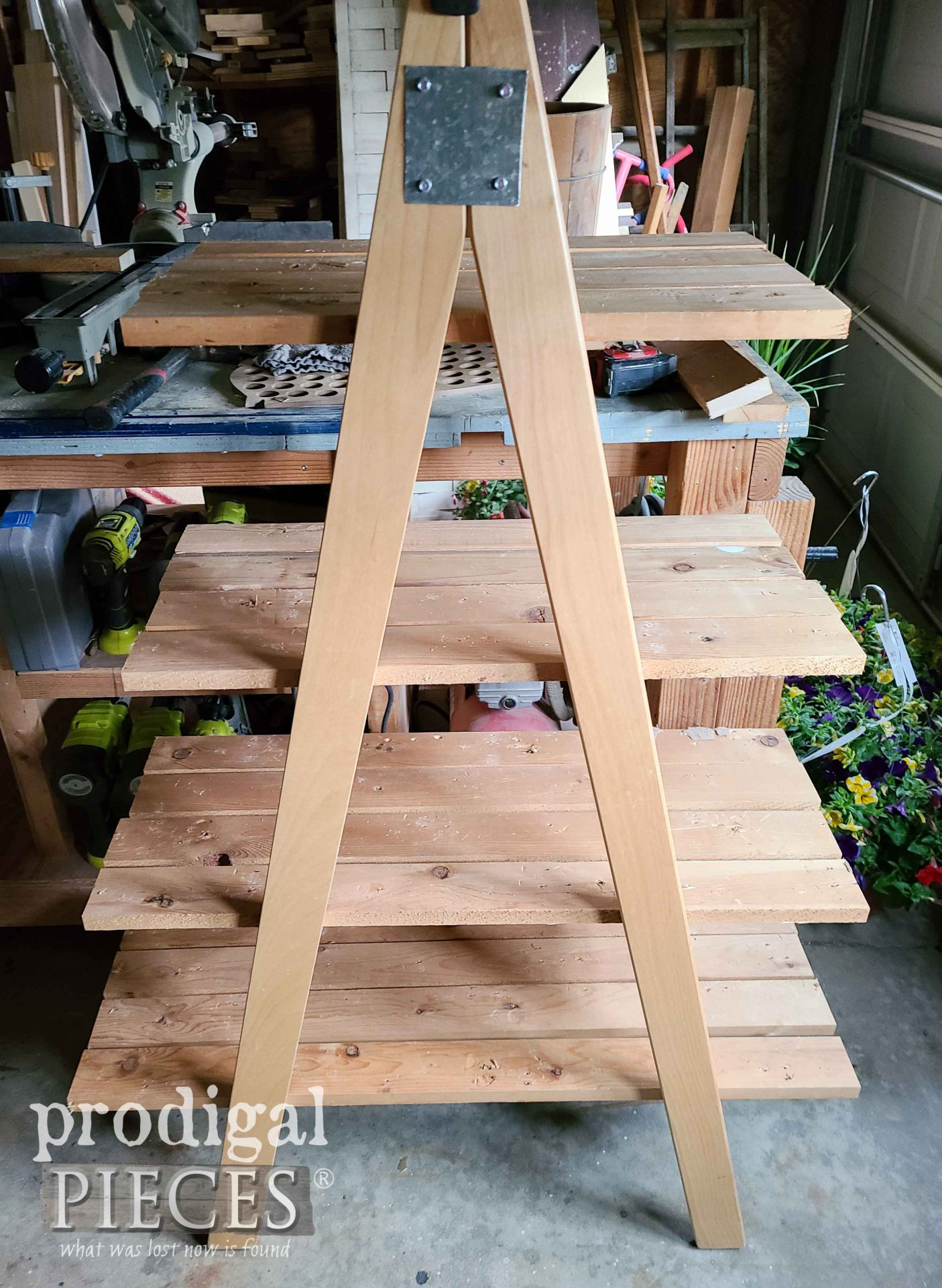 Tiered Shelved Dry Fit on Upcycled Bunk Bed Ladders | prodigalpieces.com #prodigalpieces