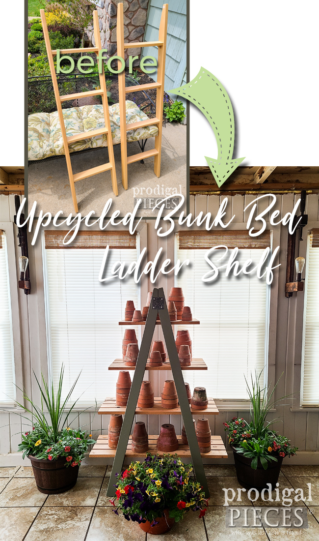 Two Upcycled Bunk Bed Ladders turned into DIY Tiered Shelf by Larissa of Prodigal Pieces | prodigalpieces.com #prodigalpieces #garden #diy #home #homedecor #farmhouse