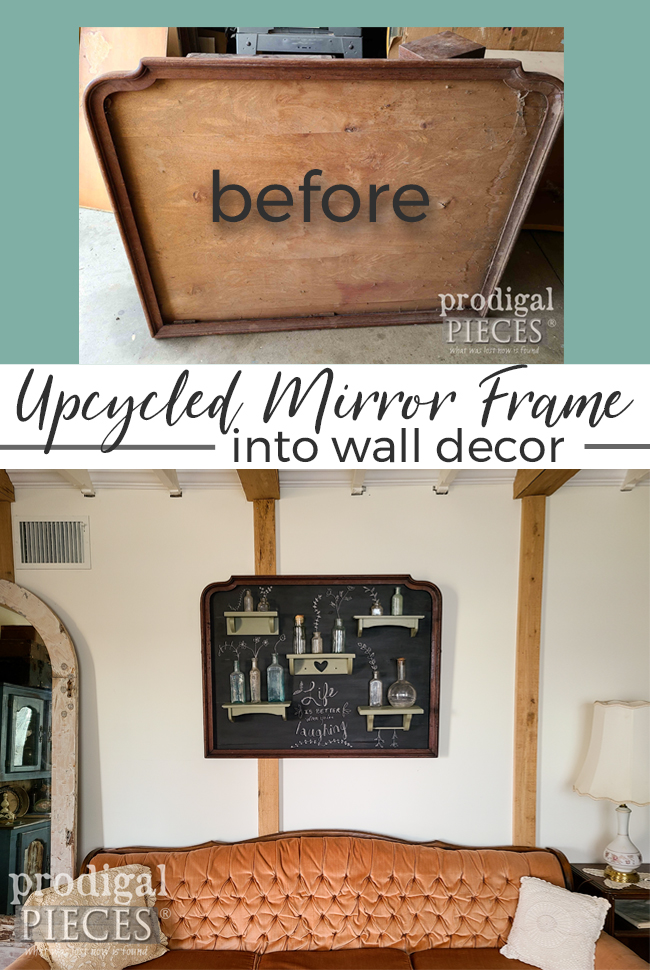 Grab that broken mirror and upcycle the frame into something more. DIY details at Prodigal Pieces | prodigalpieces.com #prodigalpieces #farmhouse #home #homedecor #chalkboard