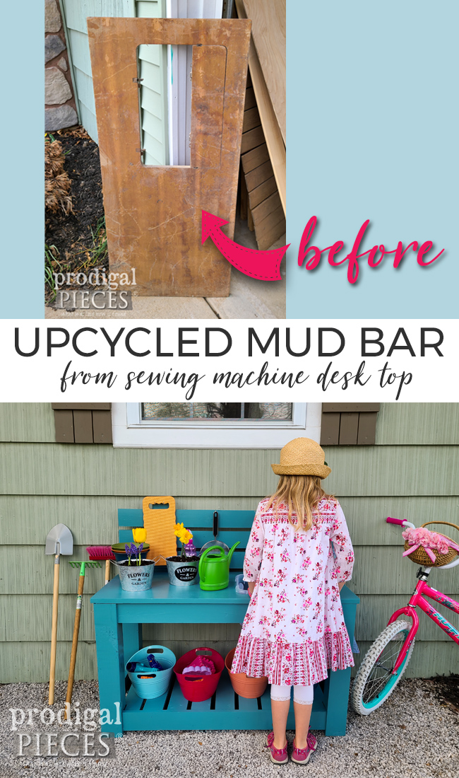 Garden fun! This misfit sewing desk top is transformed into an upcycled mud bar for hours of pretend play fun by JC & Larissa of Prodigal Pieces | prodigalpieces.com #prodigalpieces #diy #upcycled #kids #fun