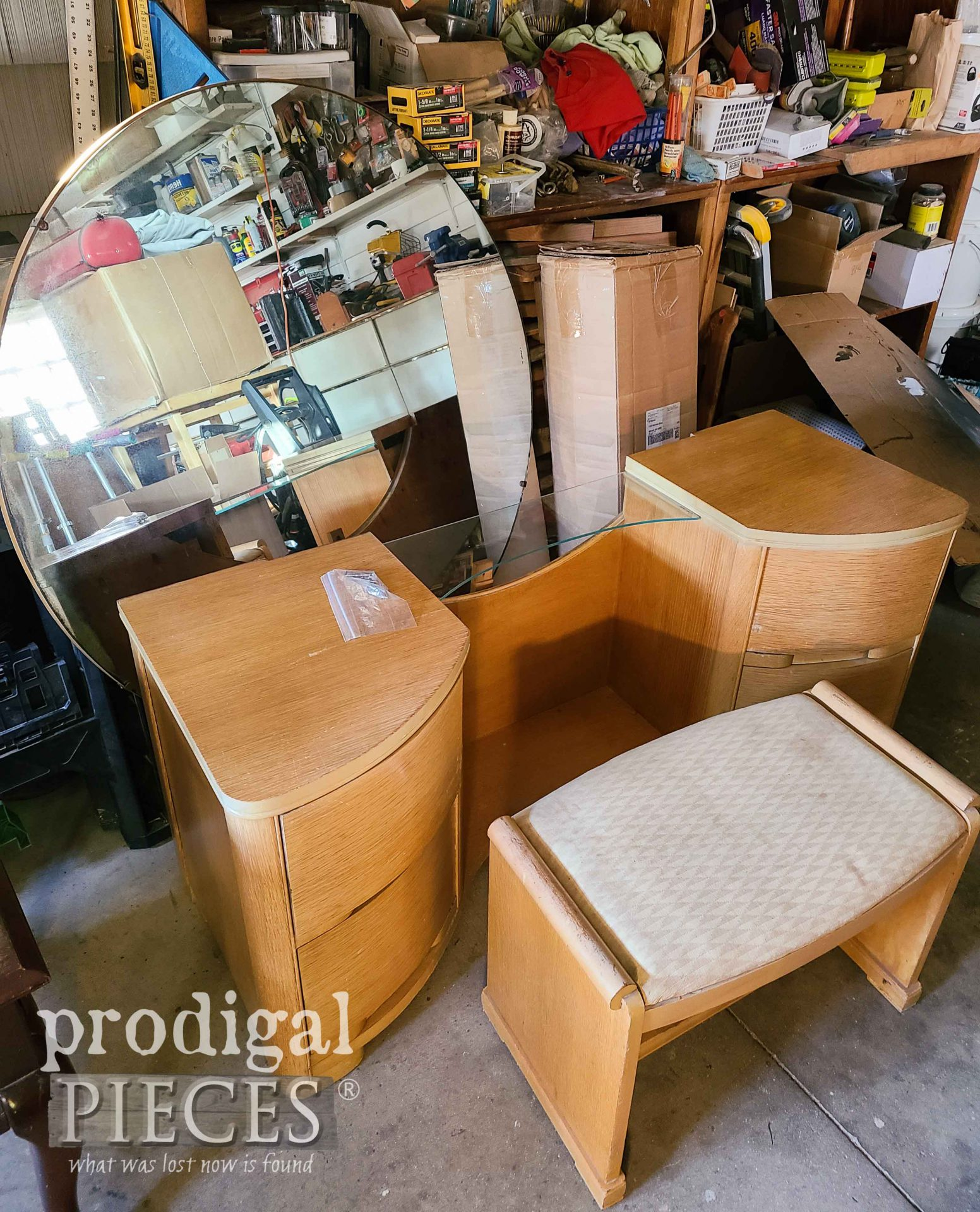 Updated Vintage Art Deco Dressing Table Before | prodigalpieces.com