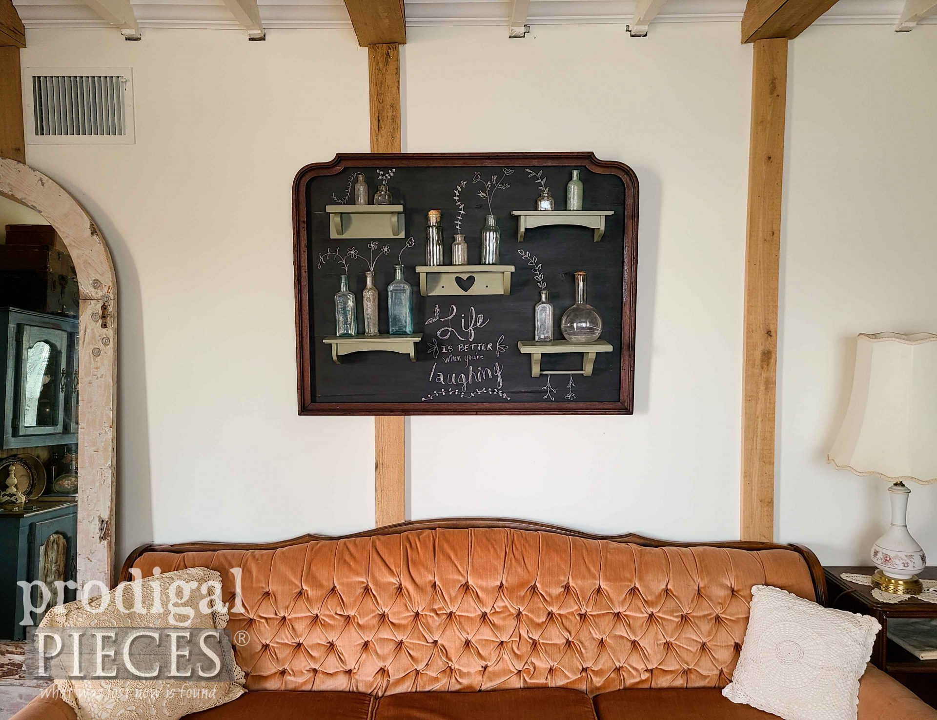 Vintage Style Living Room with Chalkboard Art by Larissa of Prodigal Pieces | prodigalpieces.com #prodigalpieces #vintage #diy #home