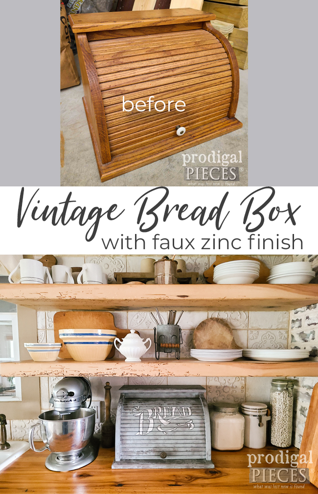 Fun! This vintage bread box got an antique update with a faux zinc finish by Larissa of Prodigal Pieces | prodigalpieces.com #prodigalpieces #diy #home #homedecor #farmhouse