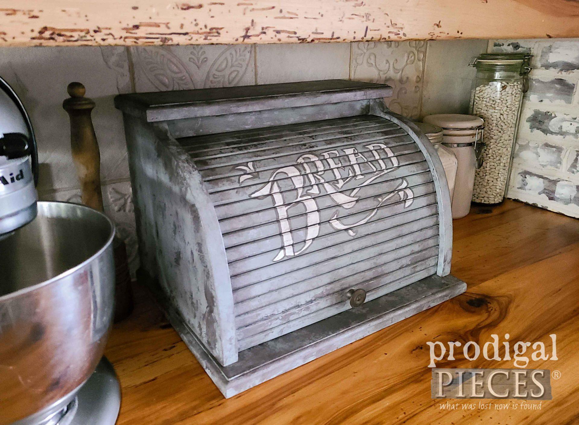 DIY Faux Zinc Makeover on Vintage Bread Box by Larissa of Prodigal Pieces | prodigalpieces.com #prodigalpieces #home #kitchen #farmhouse #diy