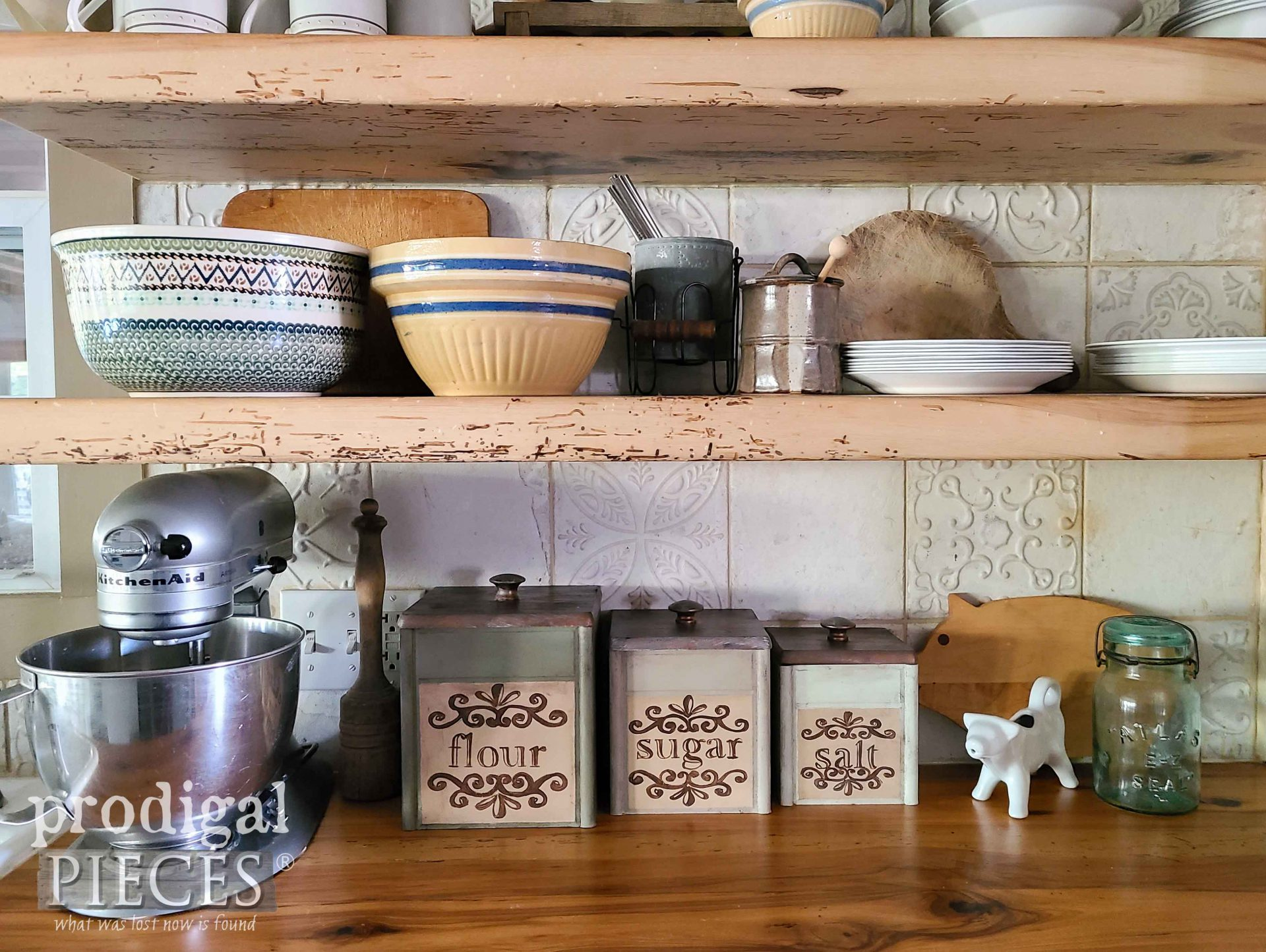 Farmhouse Style Thrifted Kitchen Canisters Made Over by Larissa of Prodigal Pieces | prodigalpieces.com #prodigalpieces #diy #home #farmhouse #kitchen