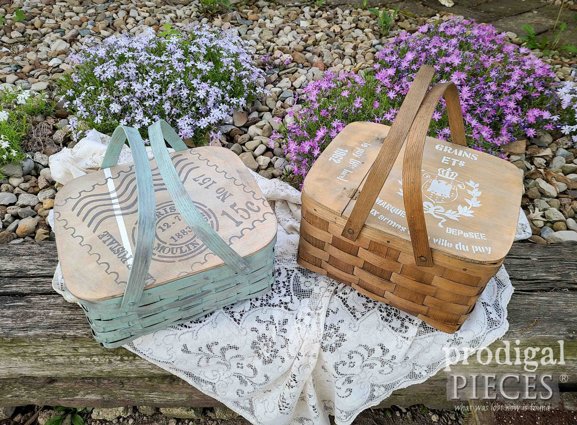 Farmhouse Style Upcycled PIcnic Baskets with Stenils by Larissa of Prodigal Pieces | prodigalpieces.com #prodigalpieces #farmhouse #diy #home #homedecor #cottage