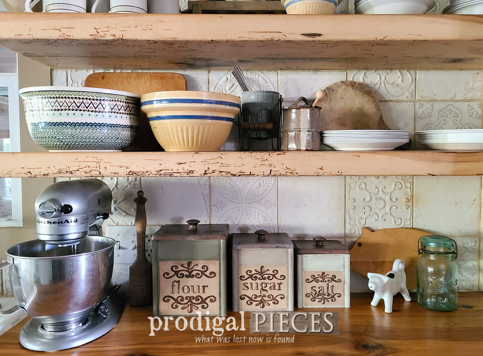 Featured Thrifted Kitchen Canisters with a Vintage Makeover by Larissa of Prodgial Pieces | prodigalpieces.com #prodigalpieces #farmhouse #vintage #home #homedecor #kitchen