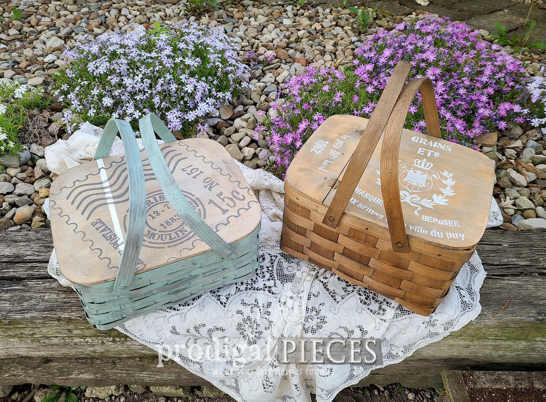 Featured Upcycled Picnic Baskets for Farmhouse Decor by Larissa of Prodigal Pieces | prodigalpieces.com #prodigalpieces #diy #summer #picnic #farmhouse #cotttage