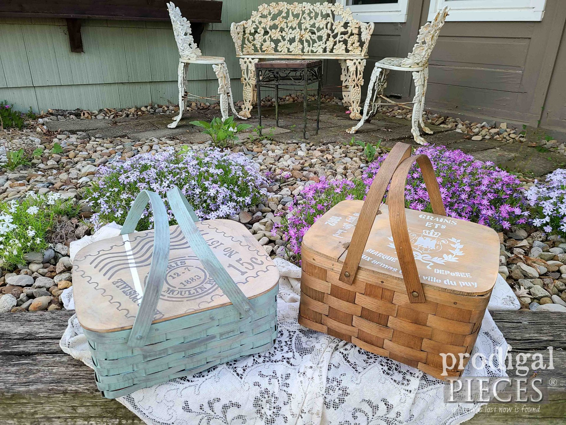 French Farmhouse Picnic Baskets Upcycled by Larissa of Prodigal Pieces | prodigalpieces.com #prodigalpieces #farmhouse #picnic #home