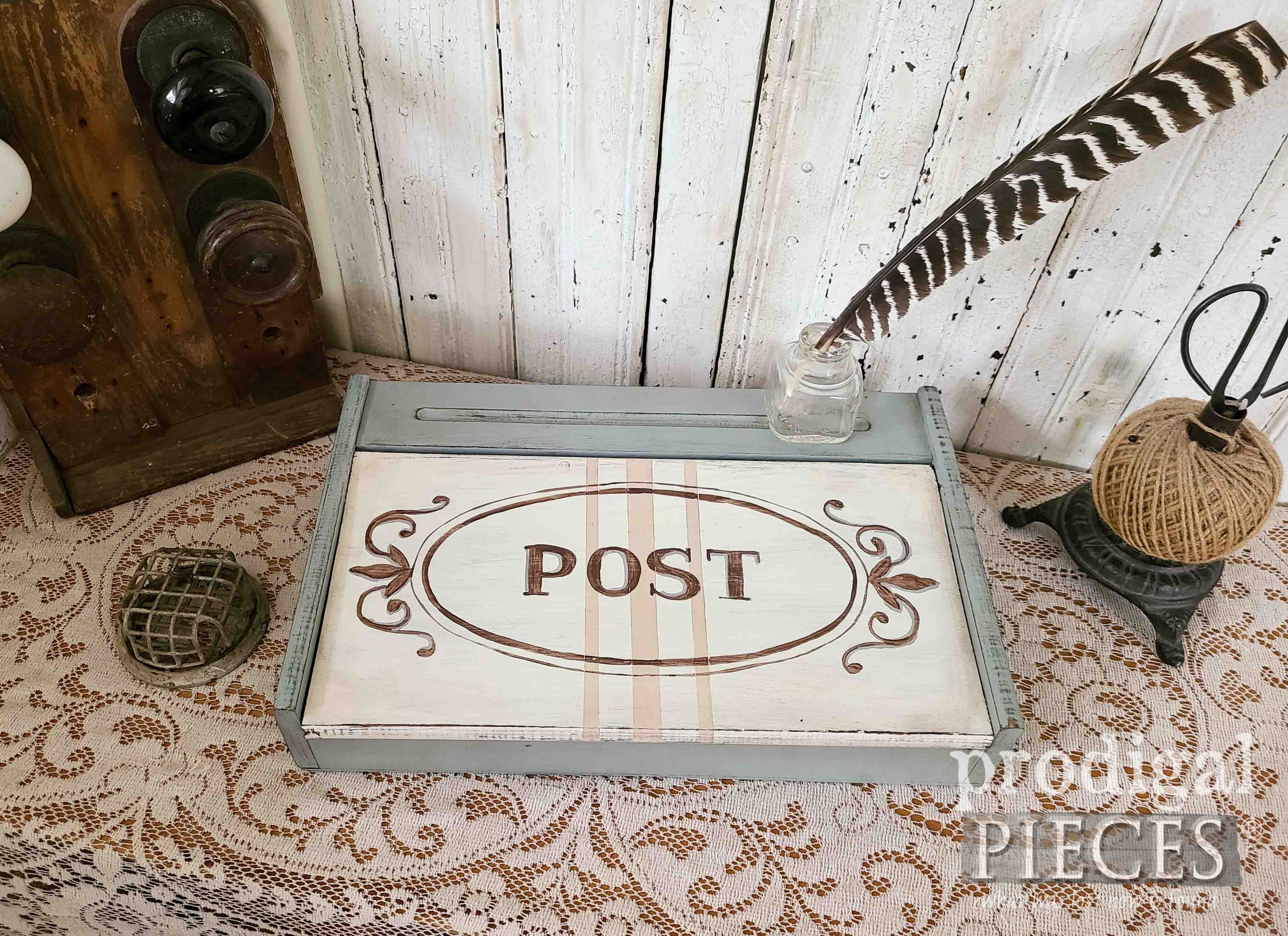 Hand-Painted Vintage Writing Box by Larissa of Prodigal Pieces | prodigalpieces.com #prodigalpieces #vintage