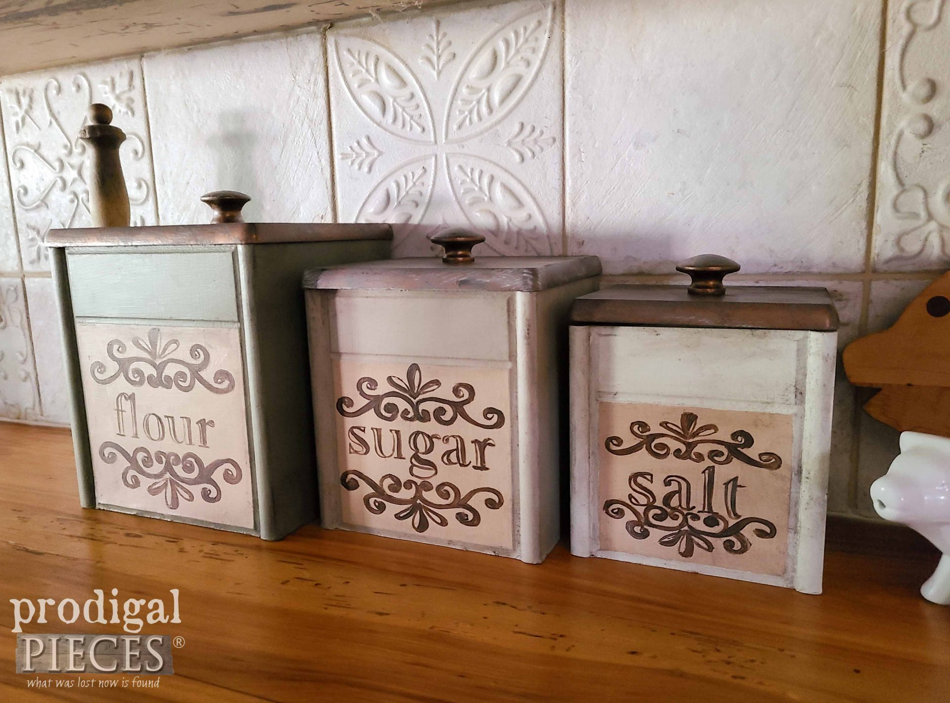 Thrifted Kitchen Canisters with Typography by Larissa of Prodigal Pieces | prodigalpieces.com #prodigalpieces #farmhouse #kitchen #home #diy #homedecor