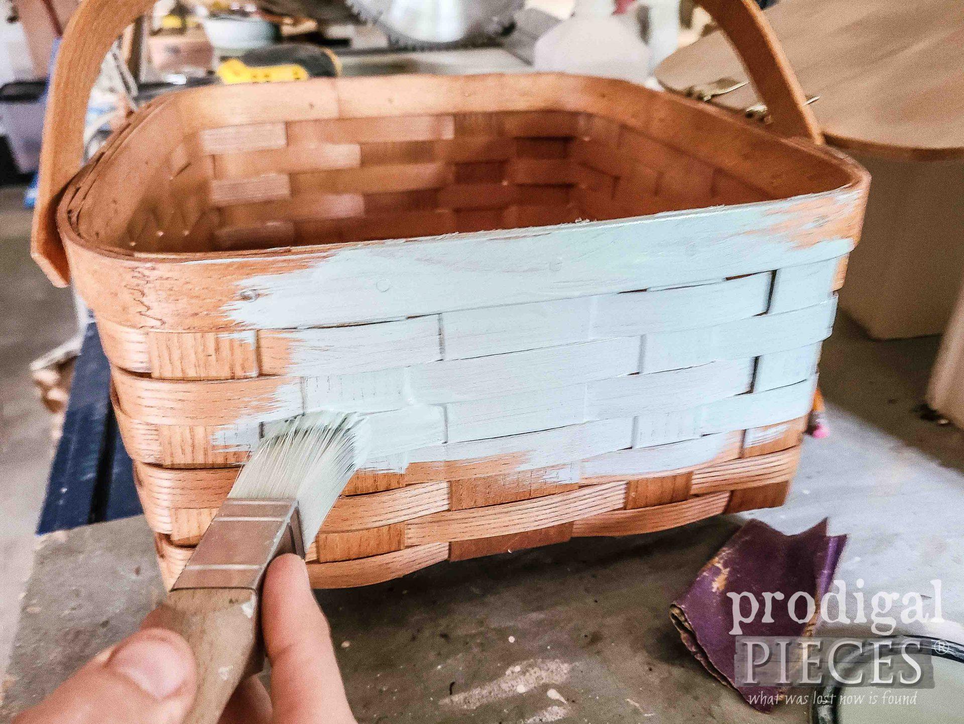 Painting Upcycled Picnic Basket Base | prodigalpieces.com