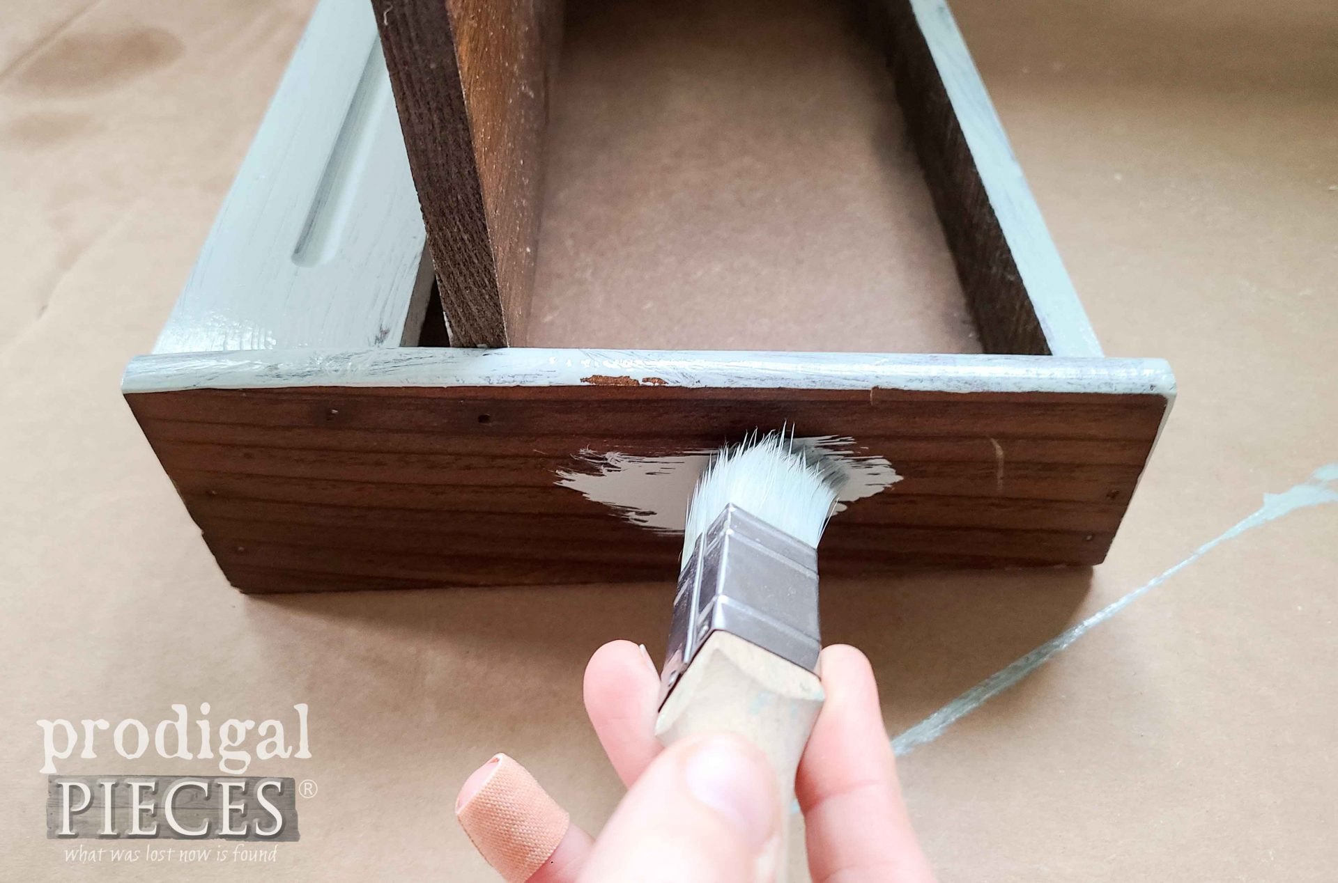 Painting Gray Base on Vintage Writing Box by Prodigal Pieces | prodigalpieces.com