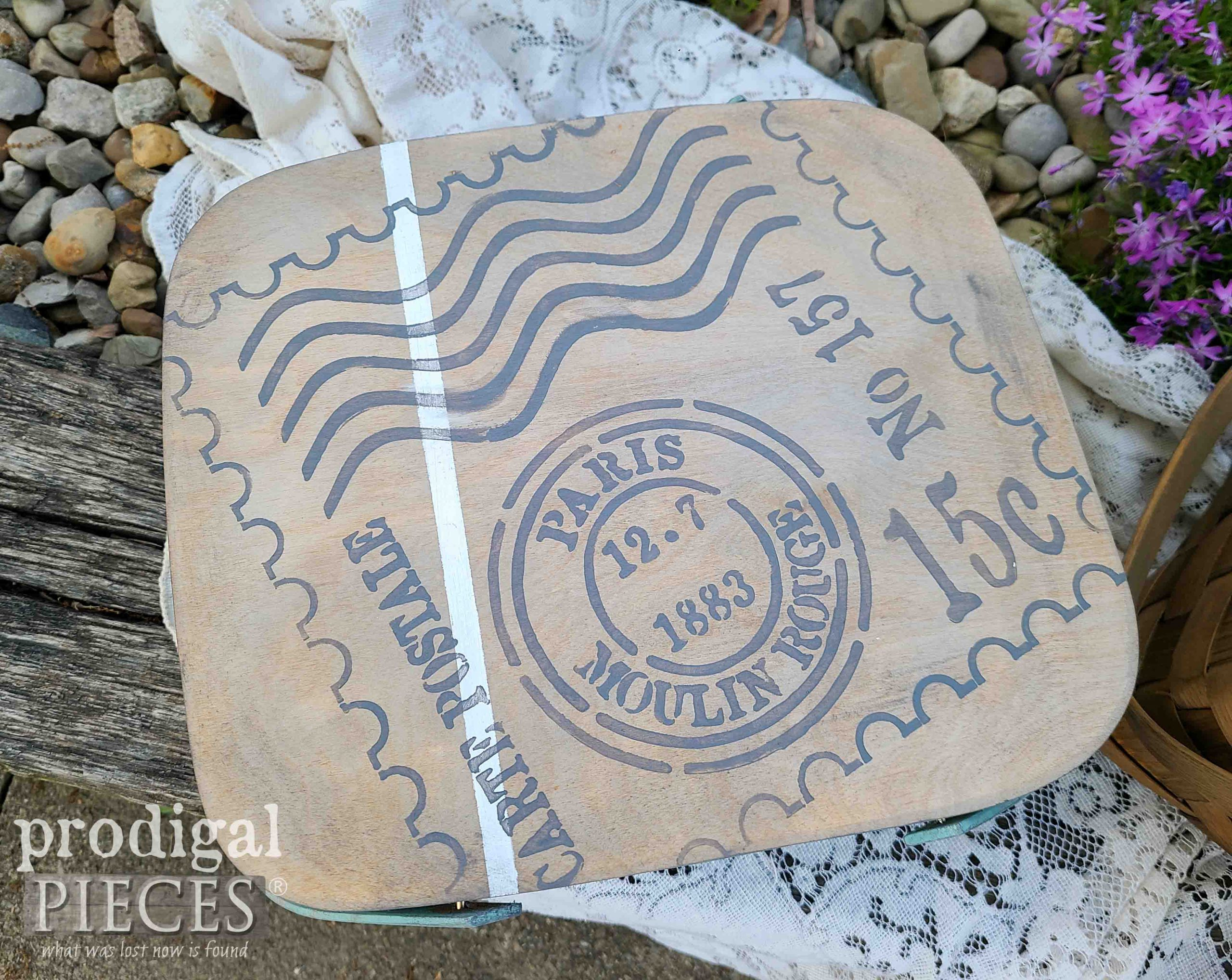 Postage Stamp Stencil on Upcycled Picnic Baskets by Prodigal Pieces | prodigalpieces.com #prodigalpieces #farmhouse #diy #home
