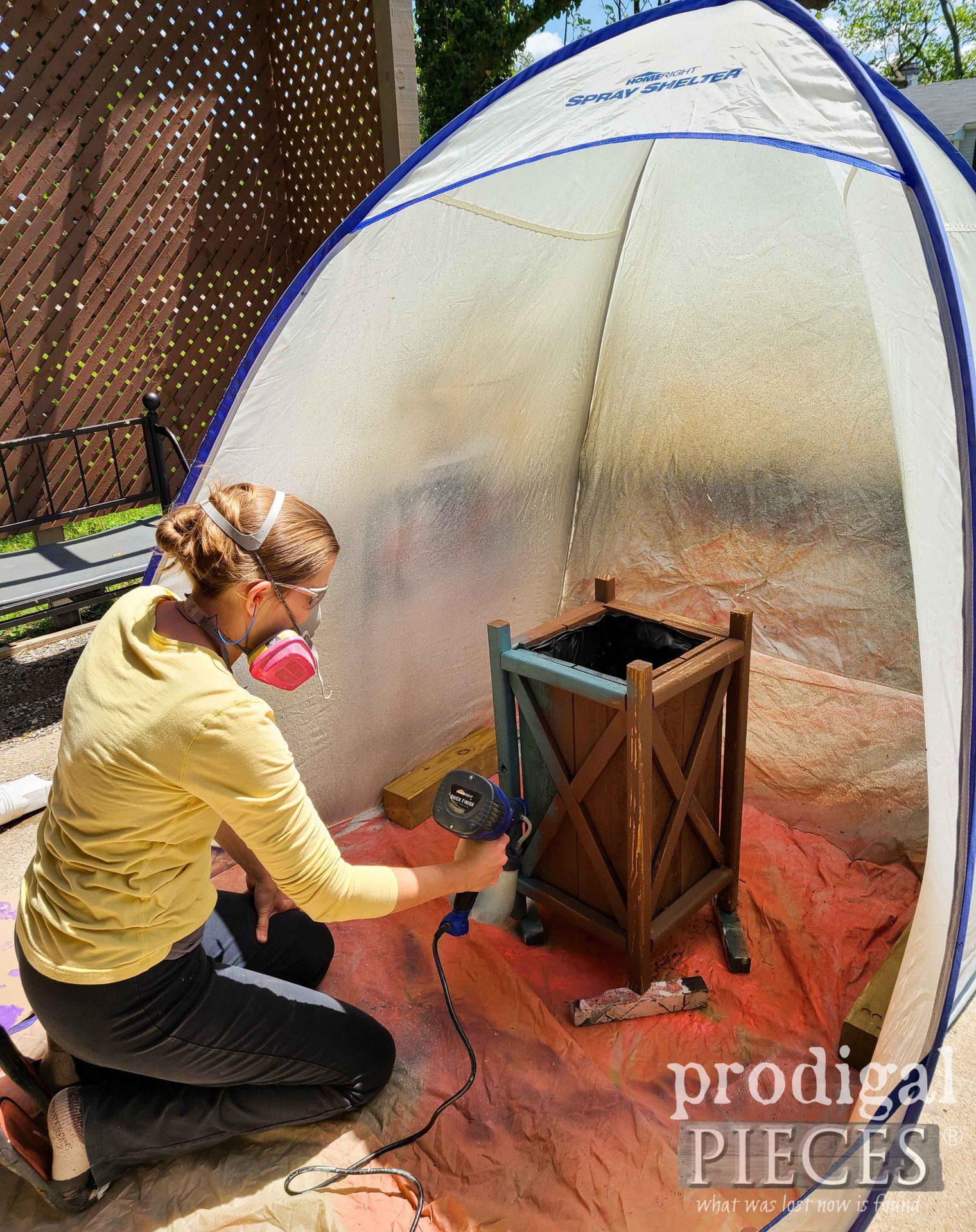 Larissa of Prodigal Pieces using the HomeRight Quick Finish Sprayer with the Medium Spray Shelter | prodigalpieces.com #prodigalpieces #toolsoverjewels